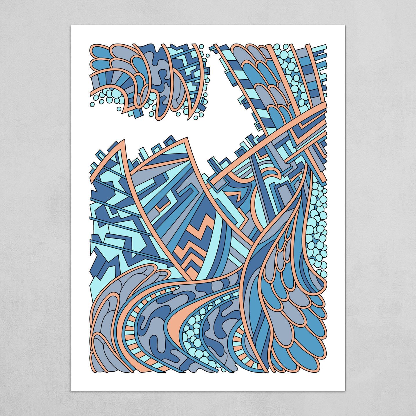 Wandering Abstract Line Art 01: Blue
