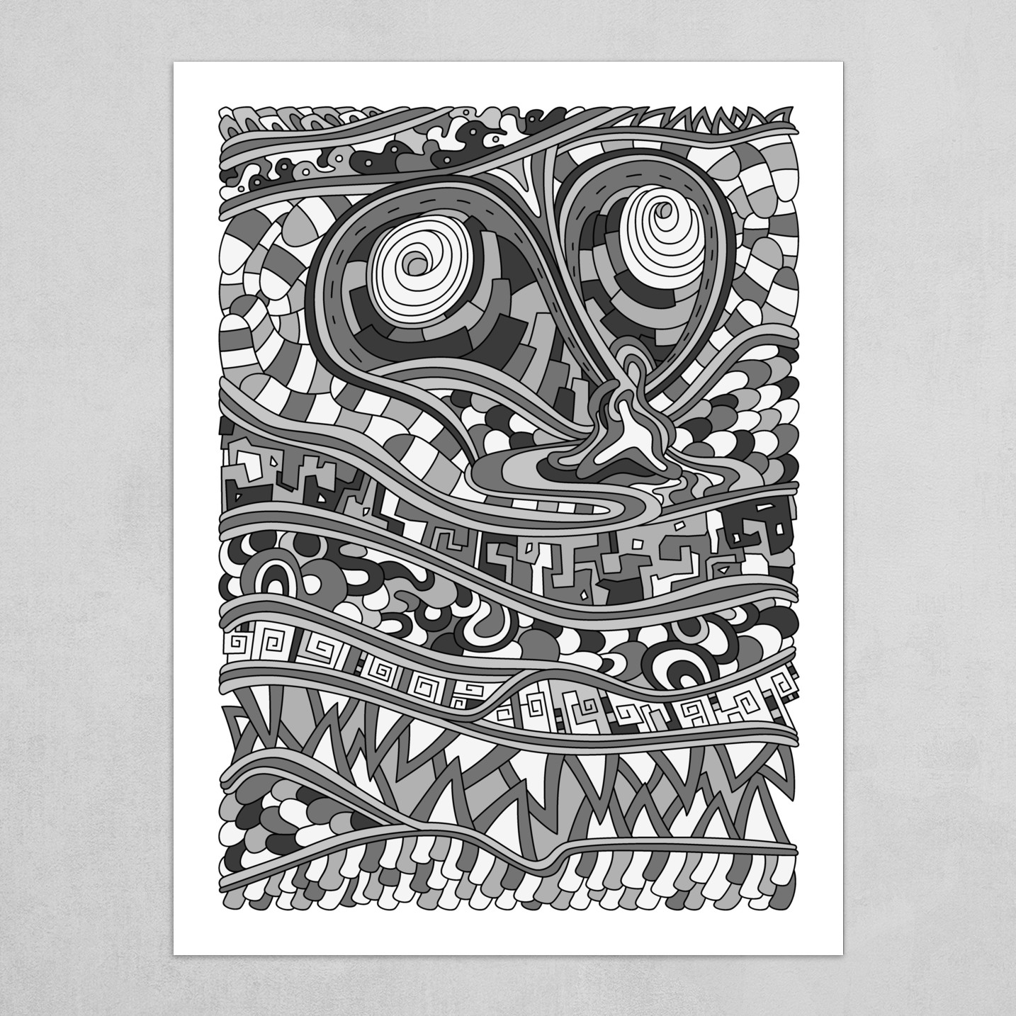 Wandering Abstract Line Art 03: Grayscale