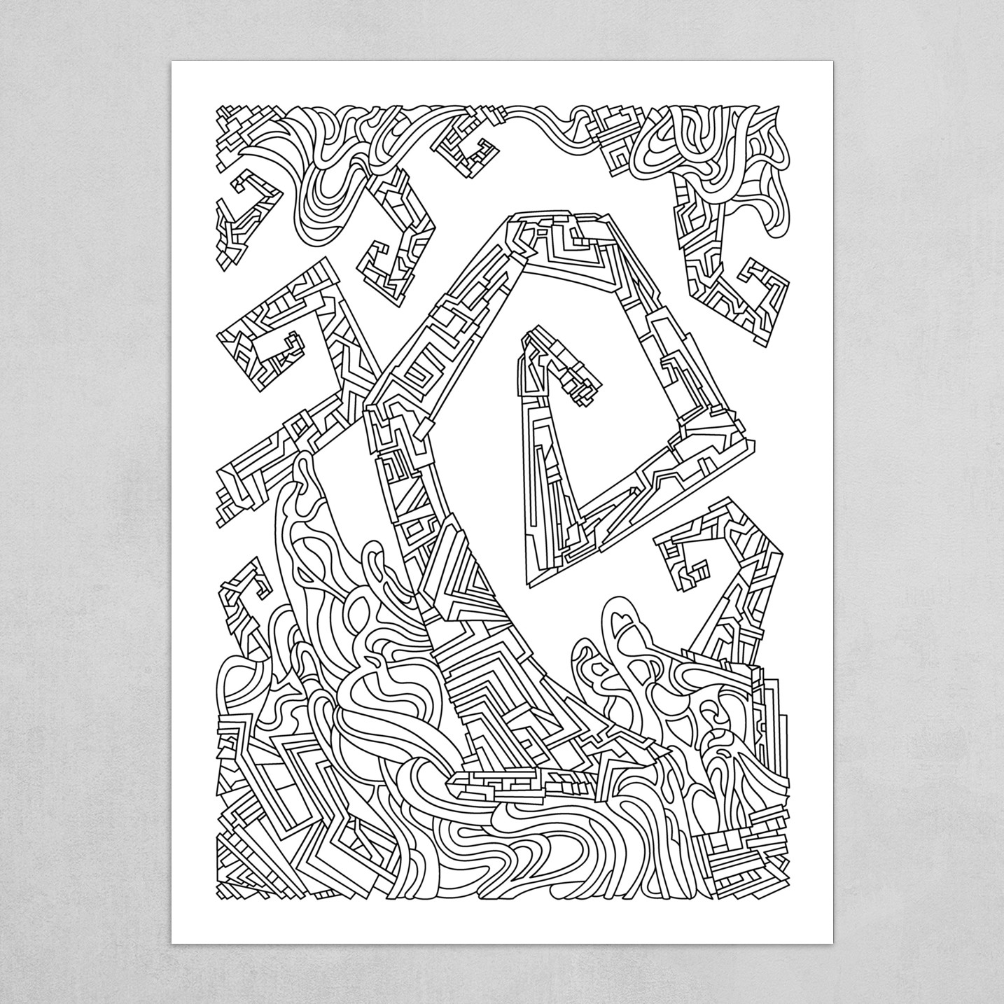 Wandering Abstract Line Art 08: Black & White