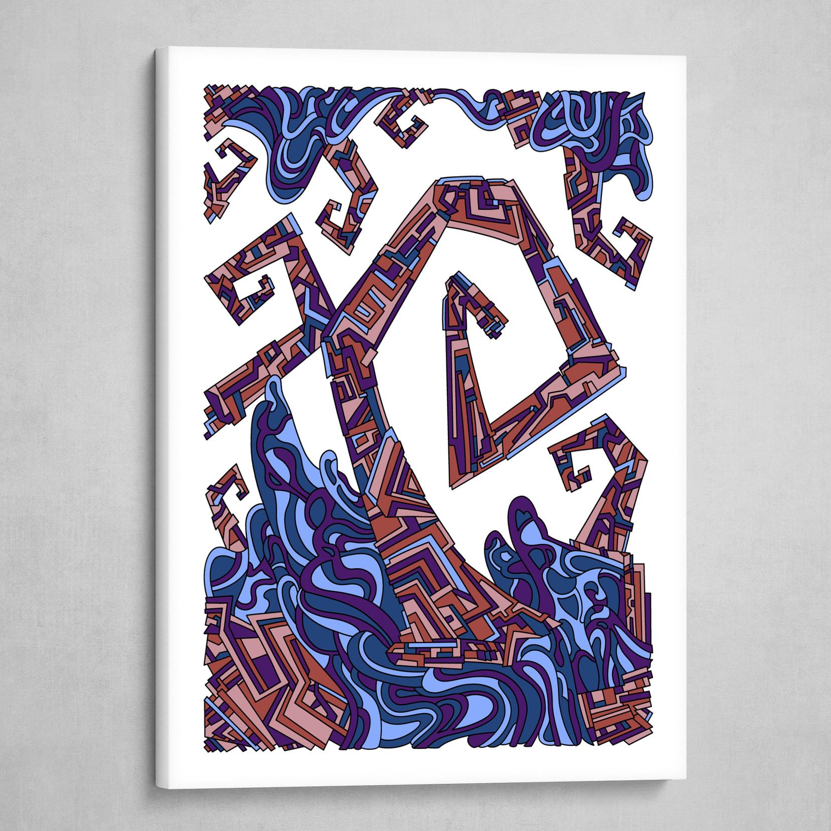 Wandering Abstract Line Art 08: Purple