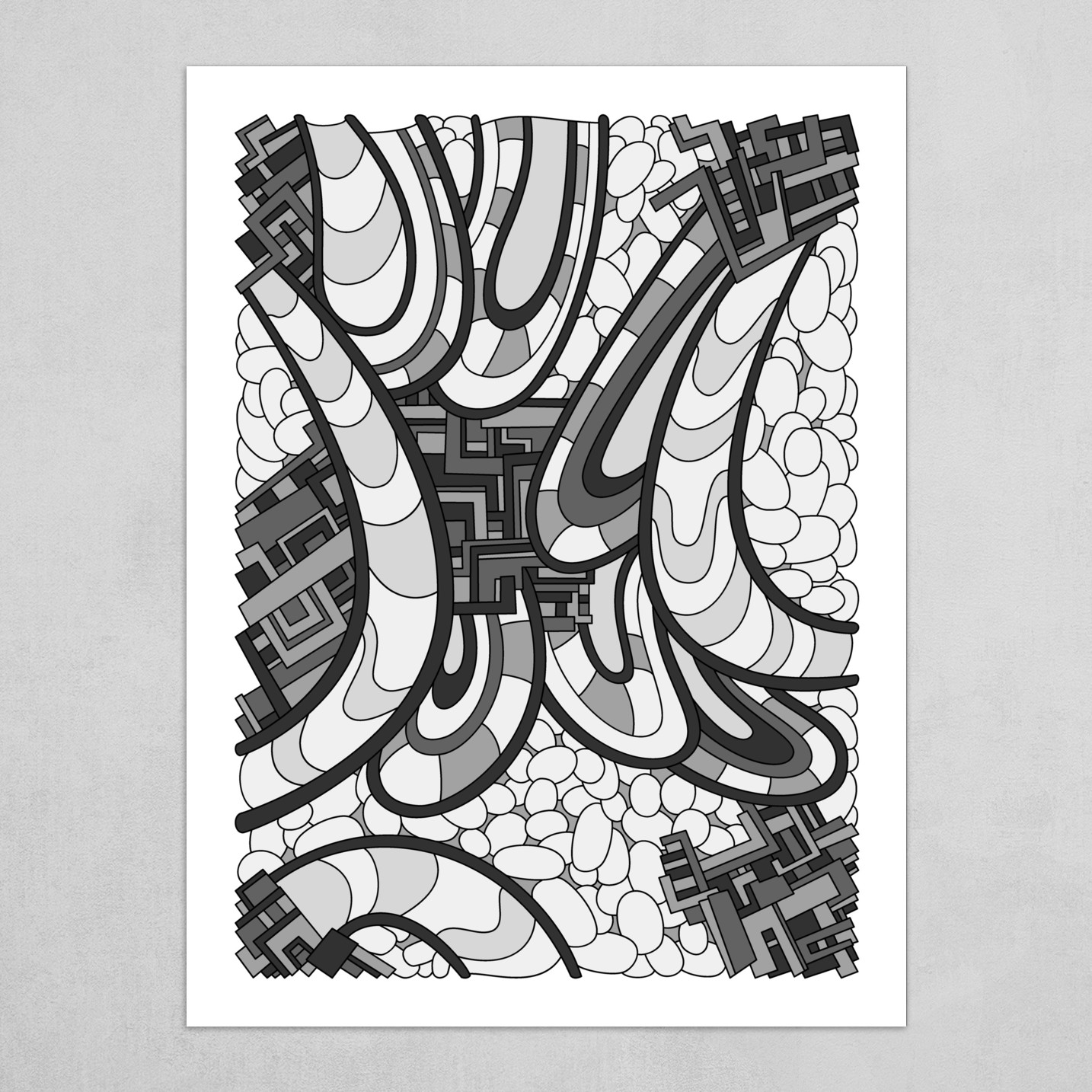 Wandering Abstract Line Art 09: Grayscale