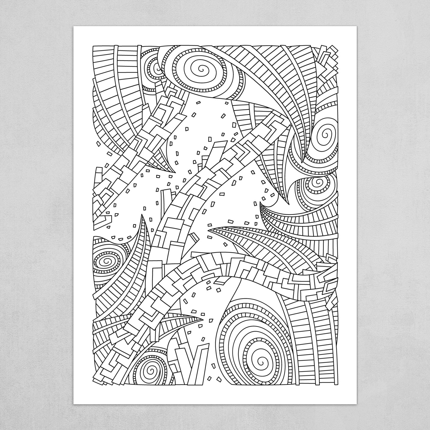 Wandering Abstract Line Art 10: Black & White