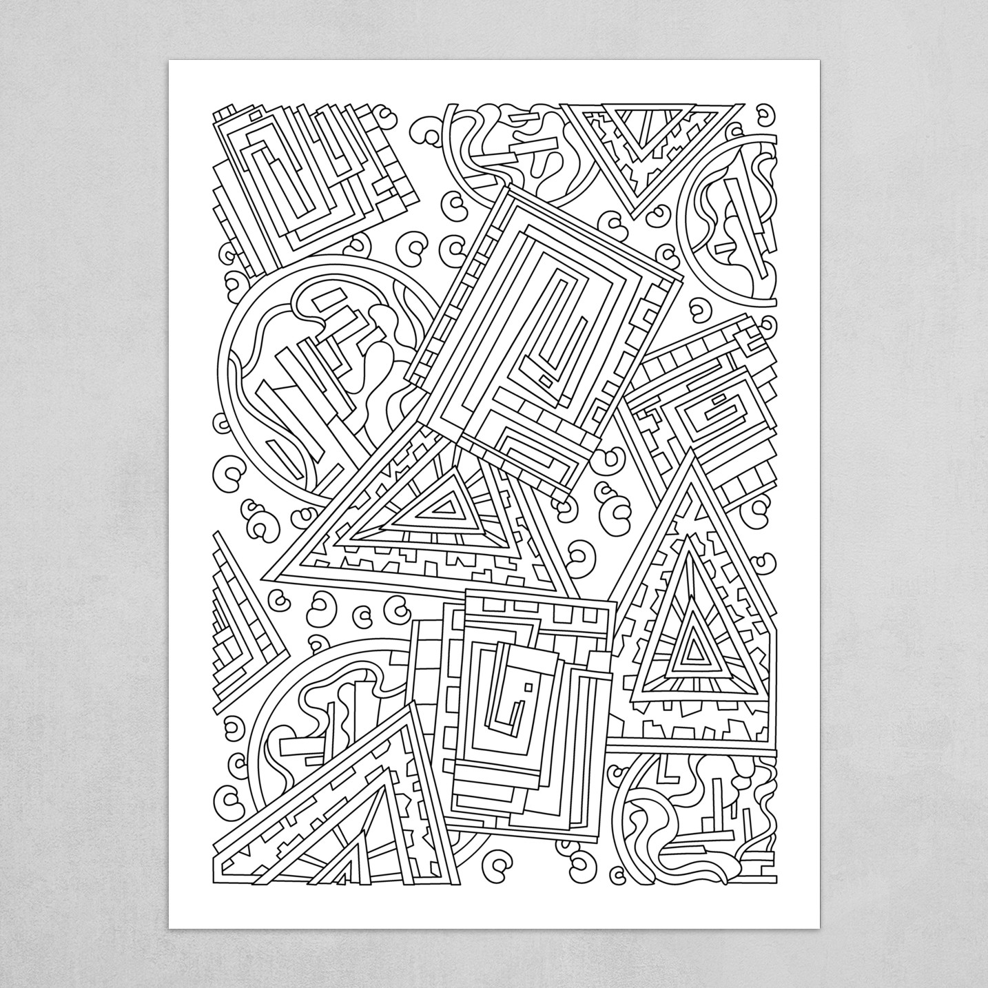 Wandering Abstract Line Art 15: Black & White