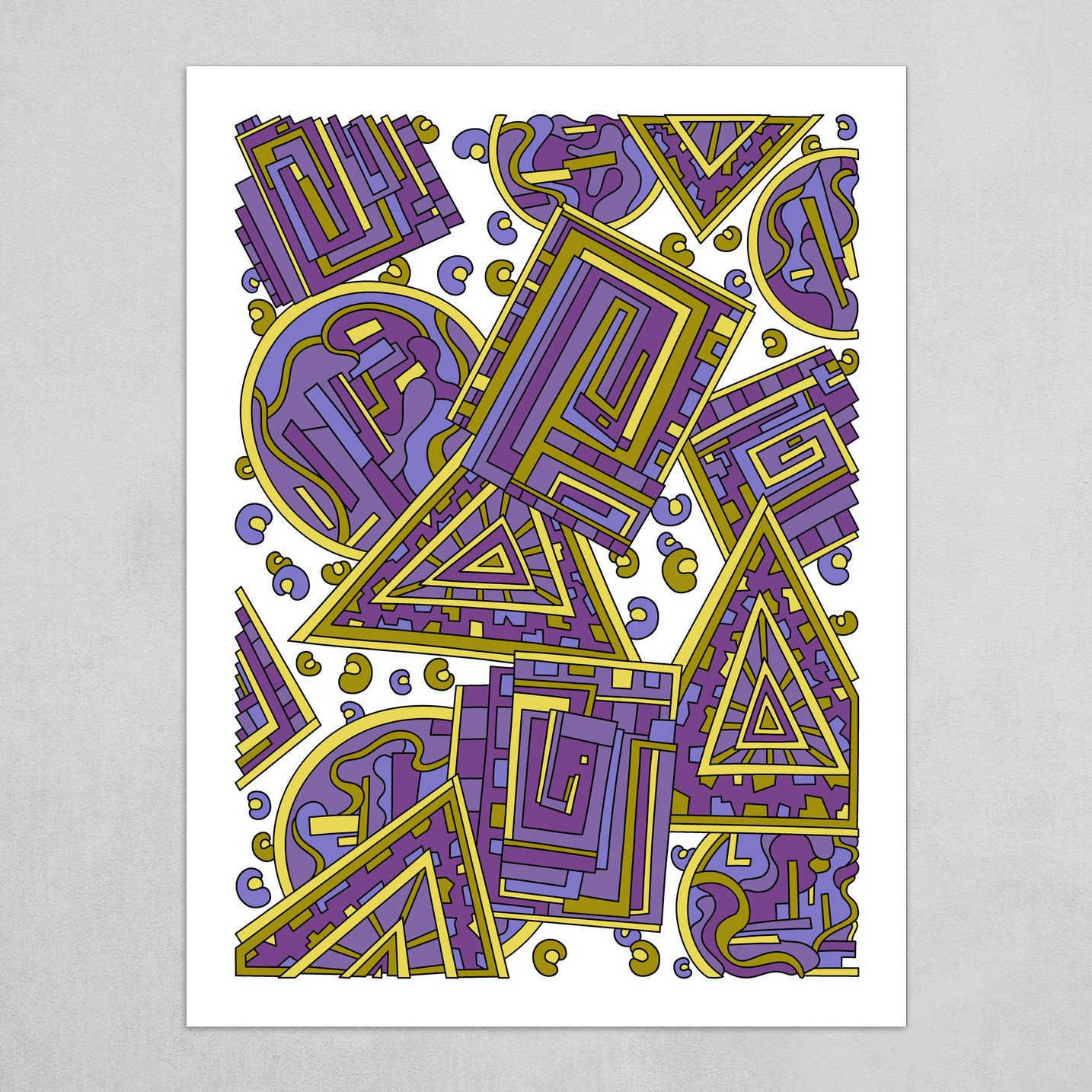 Wandering Abstract Line Art 15: Purple