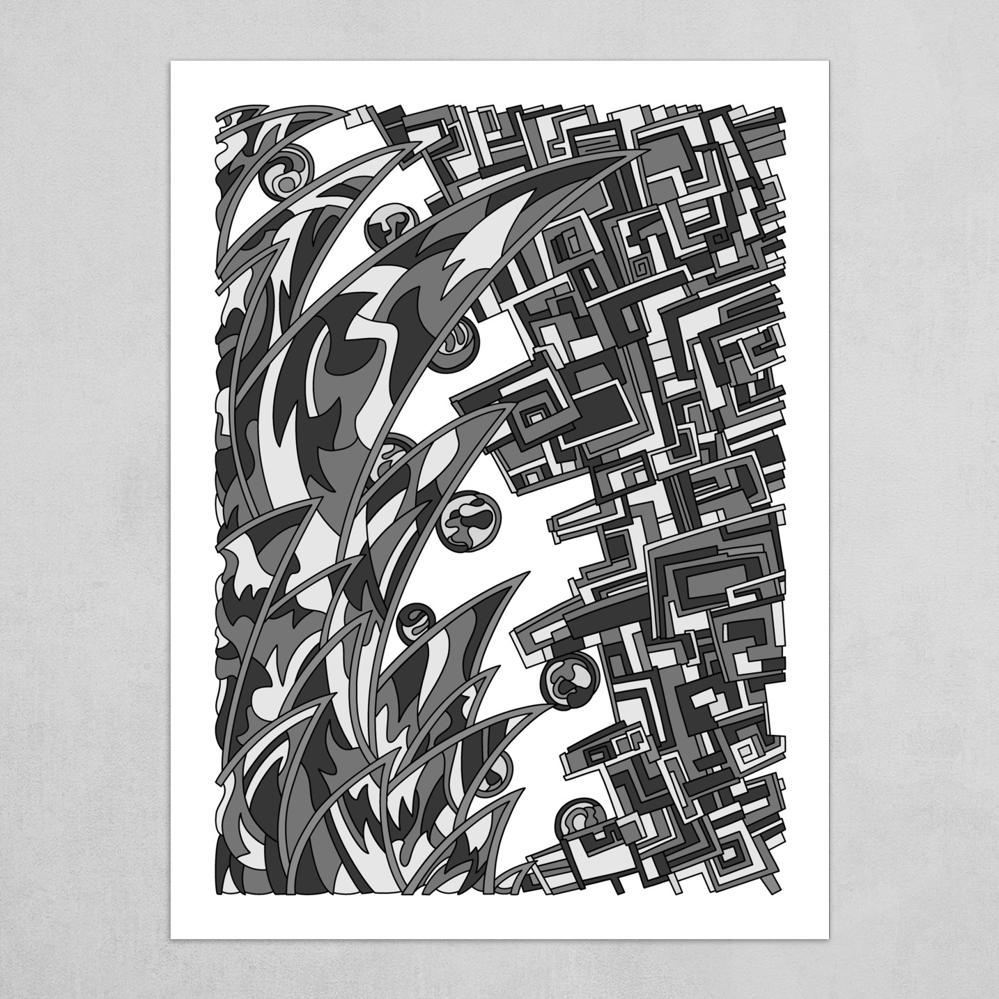 Wandering Abstract Line Art 18: Grayscale