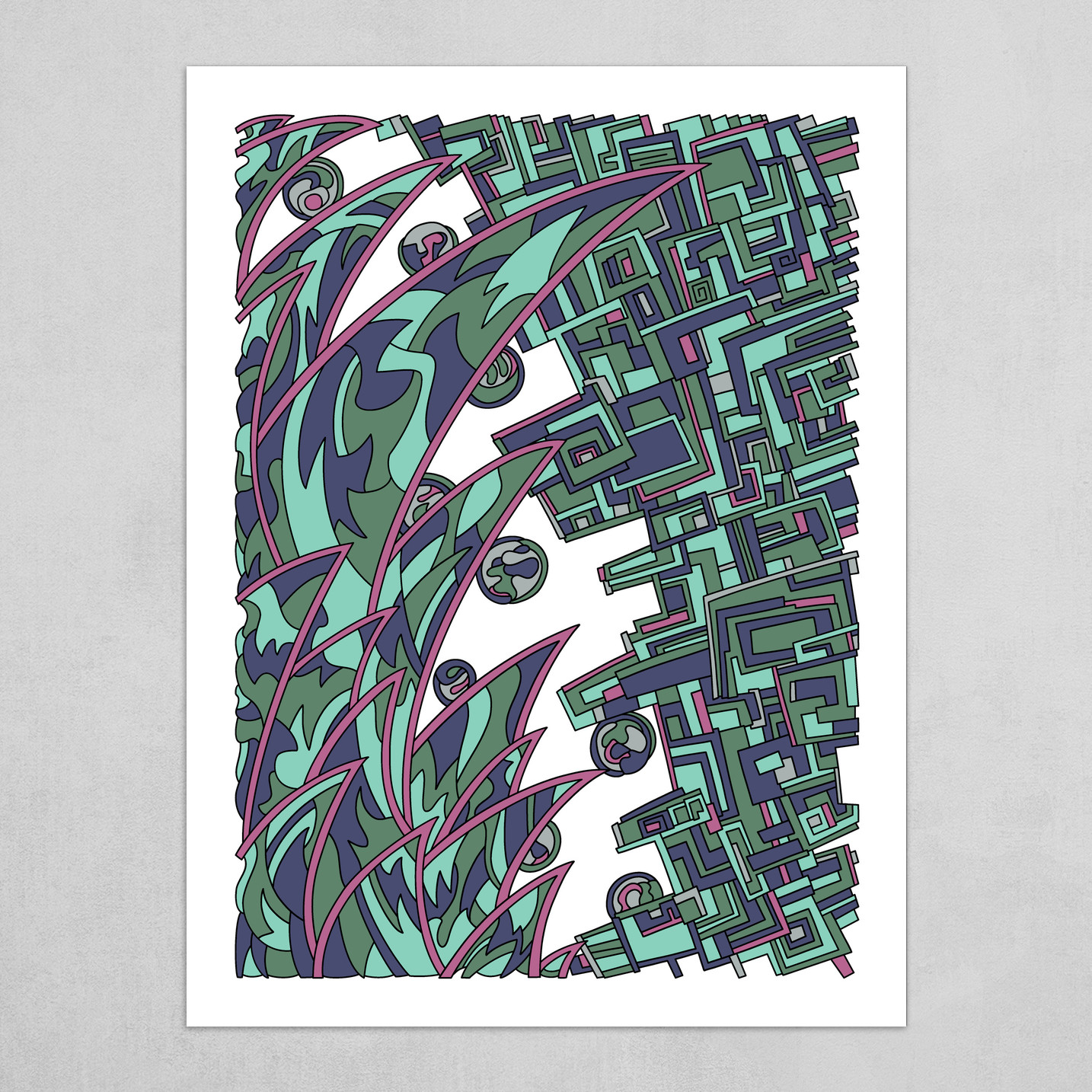 Wandering Abstract Line Art 18: Green