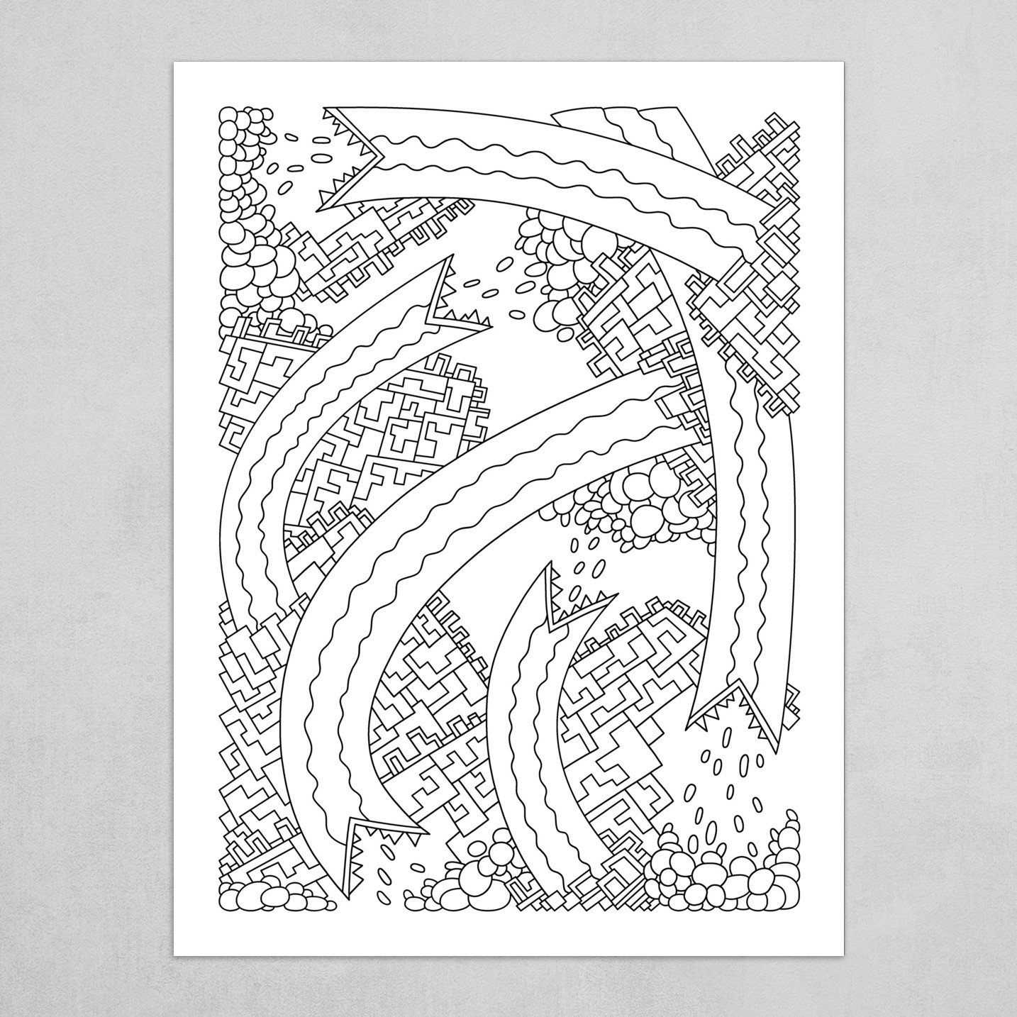 Wandering Abstract Line Art 19: Black & White