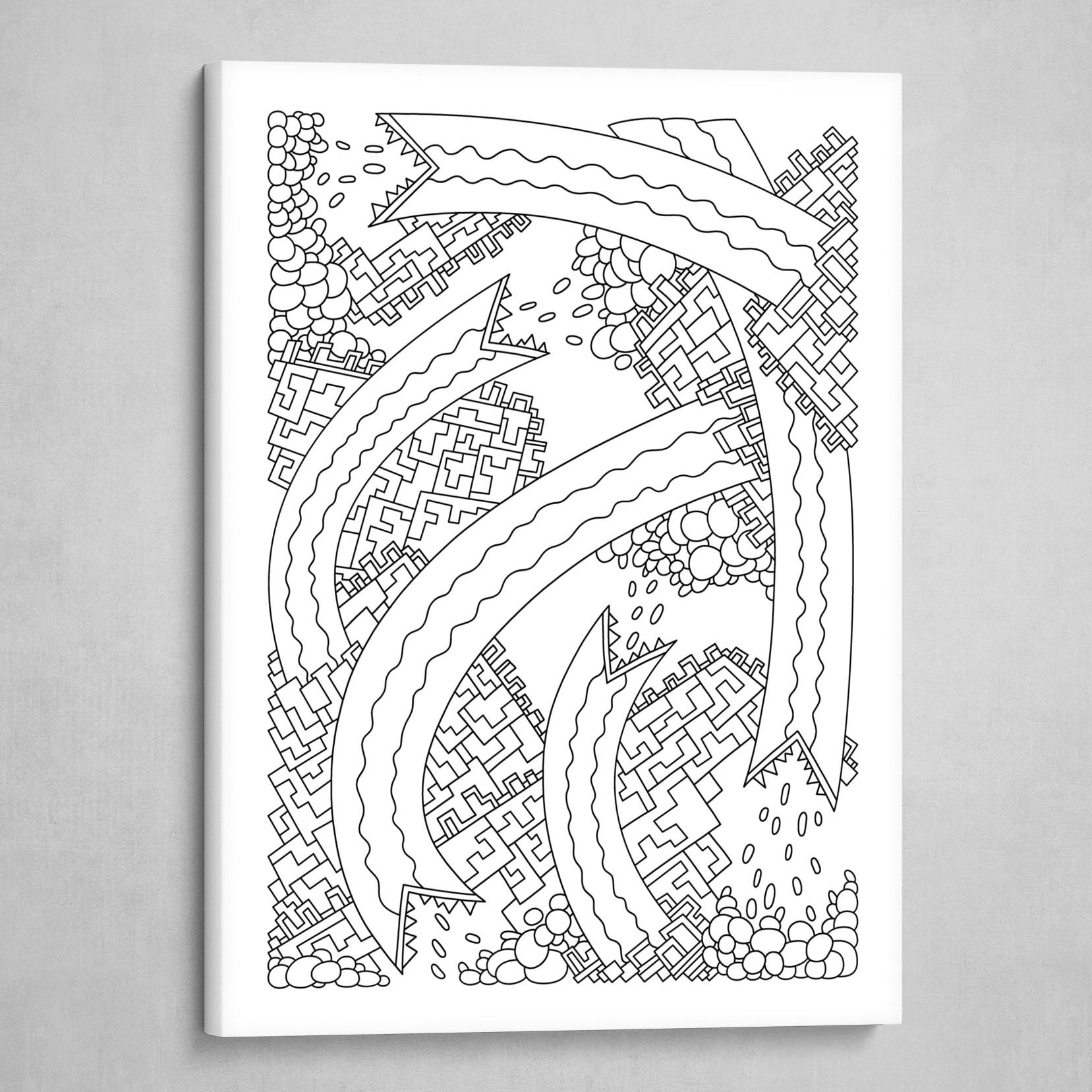 Wandering 19: black & white line art