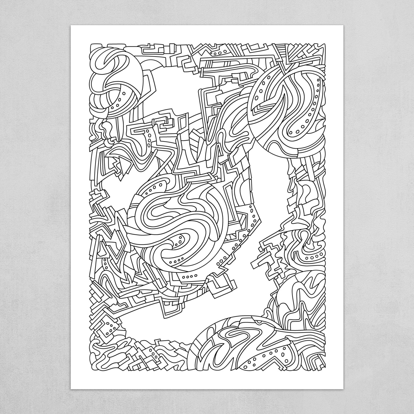 Wandering Abstract Line Art 21: Black & White
