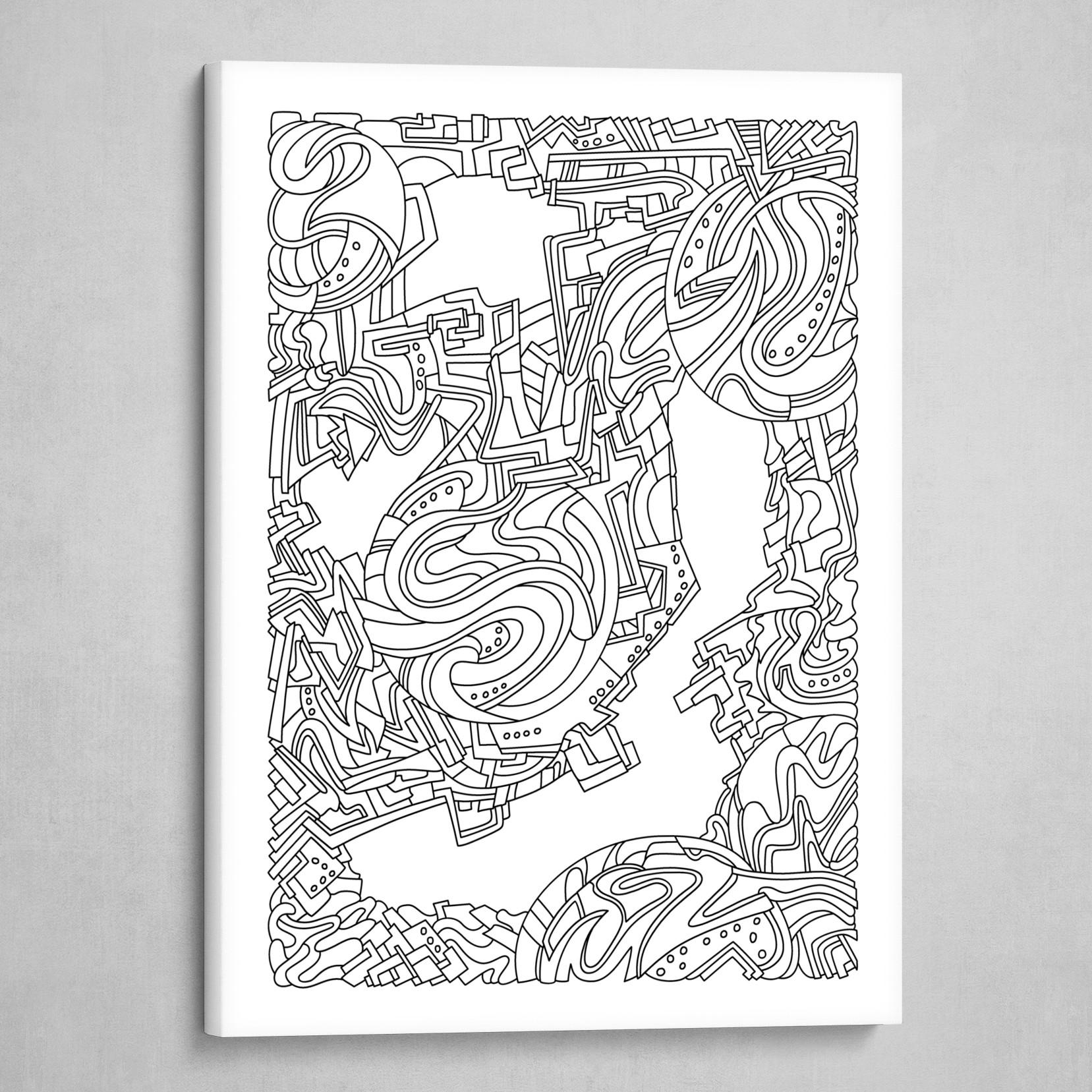 Wandering 21: black & white line art
