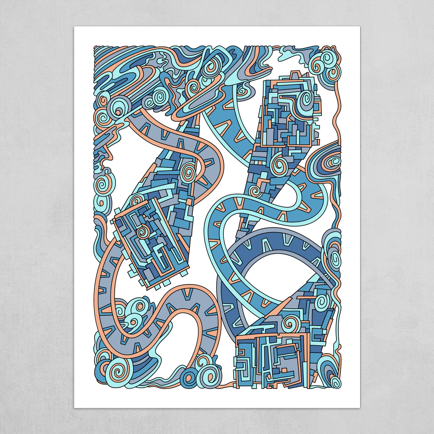 Wandering Abstract Line Art 24: Blue