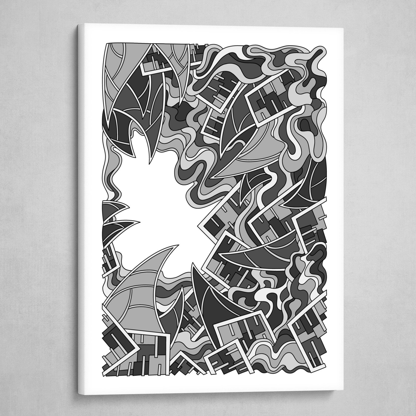 Wandering Abstract Line Art 25: Grayscale