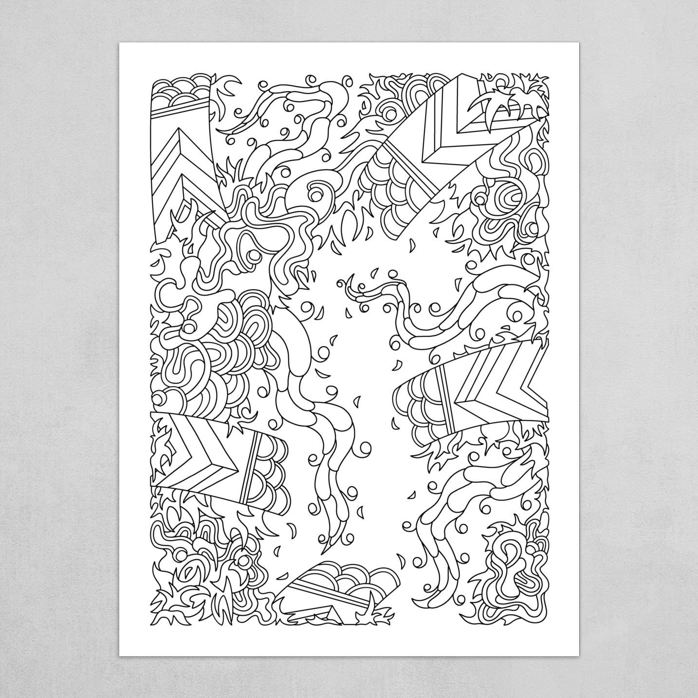 Wandering Abstract Line Art 27: Black & White
