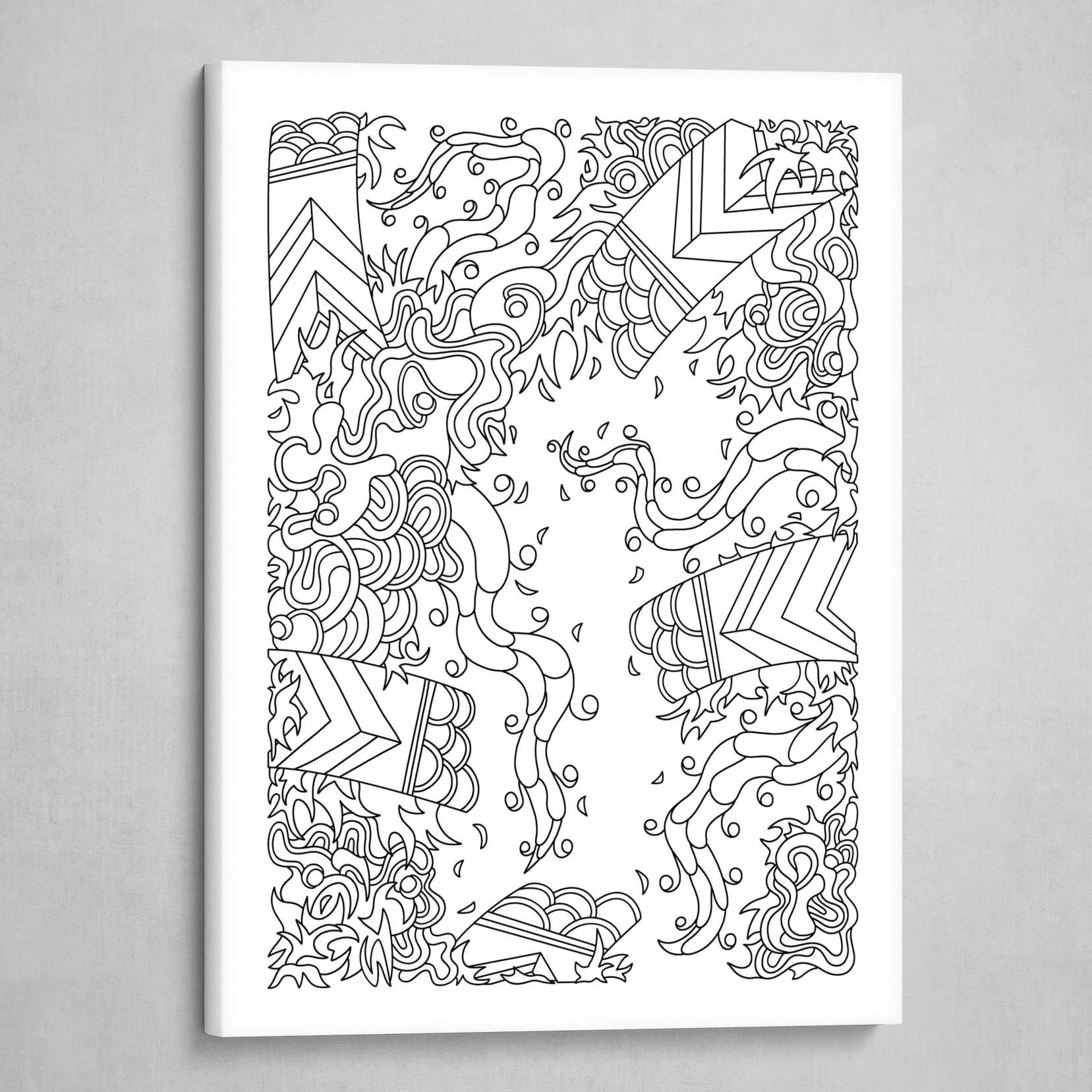 Wandering 27: black & white line art