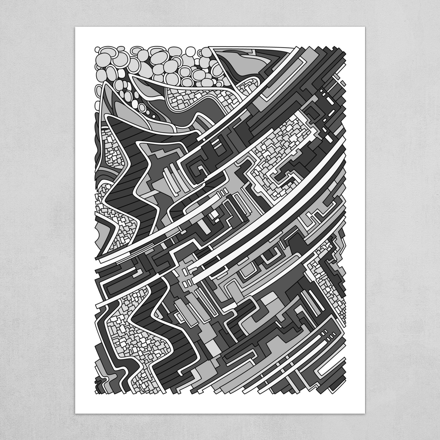 Wandering Abstract Line Art 28: Grayscale