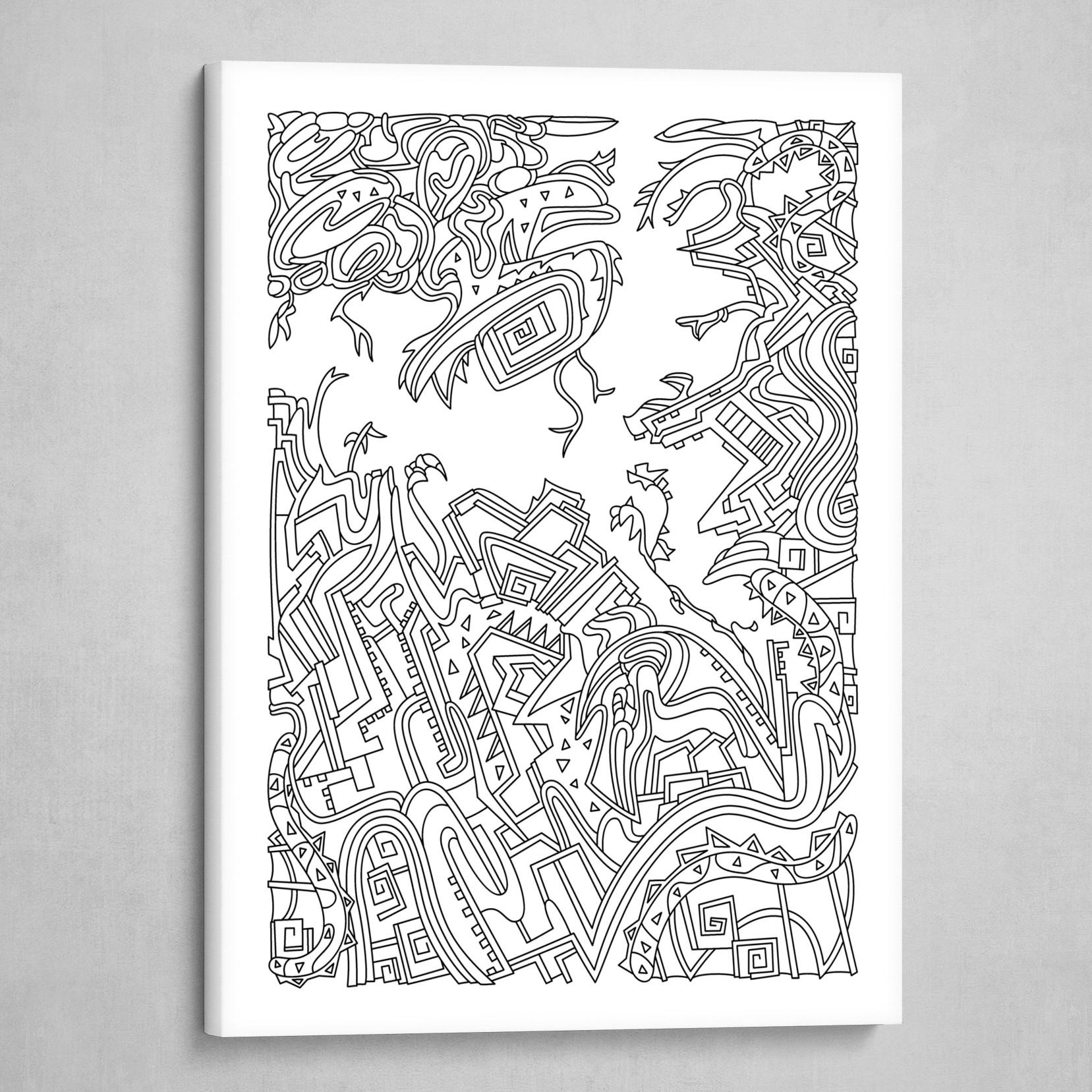 Wandering 34: black & white line art