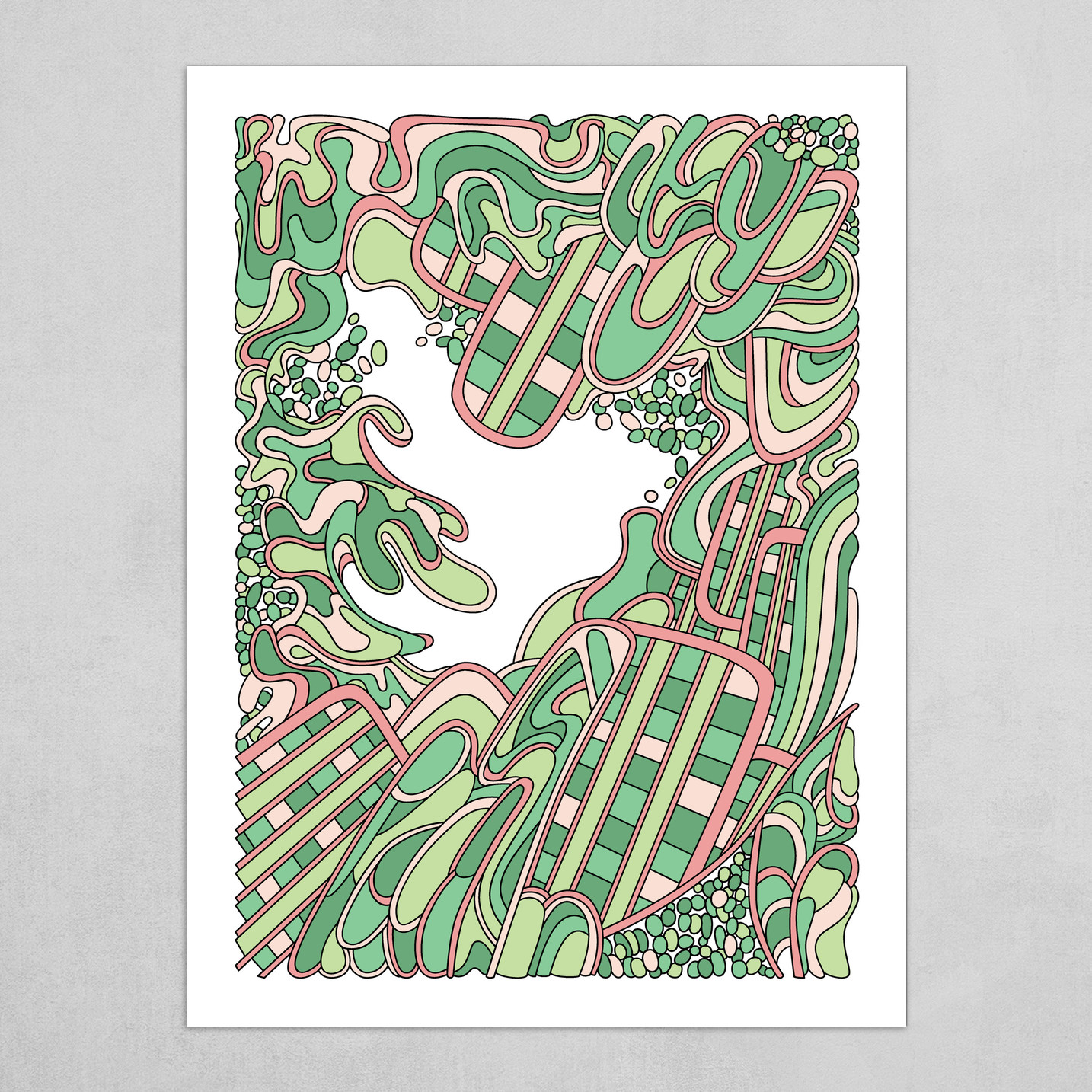 Wandering Abstract Line Art 36: Green