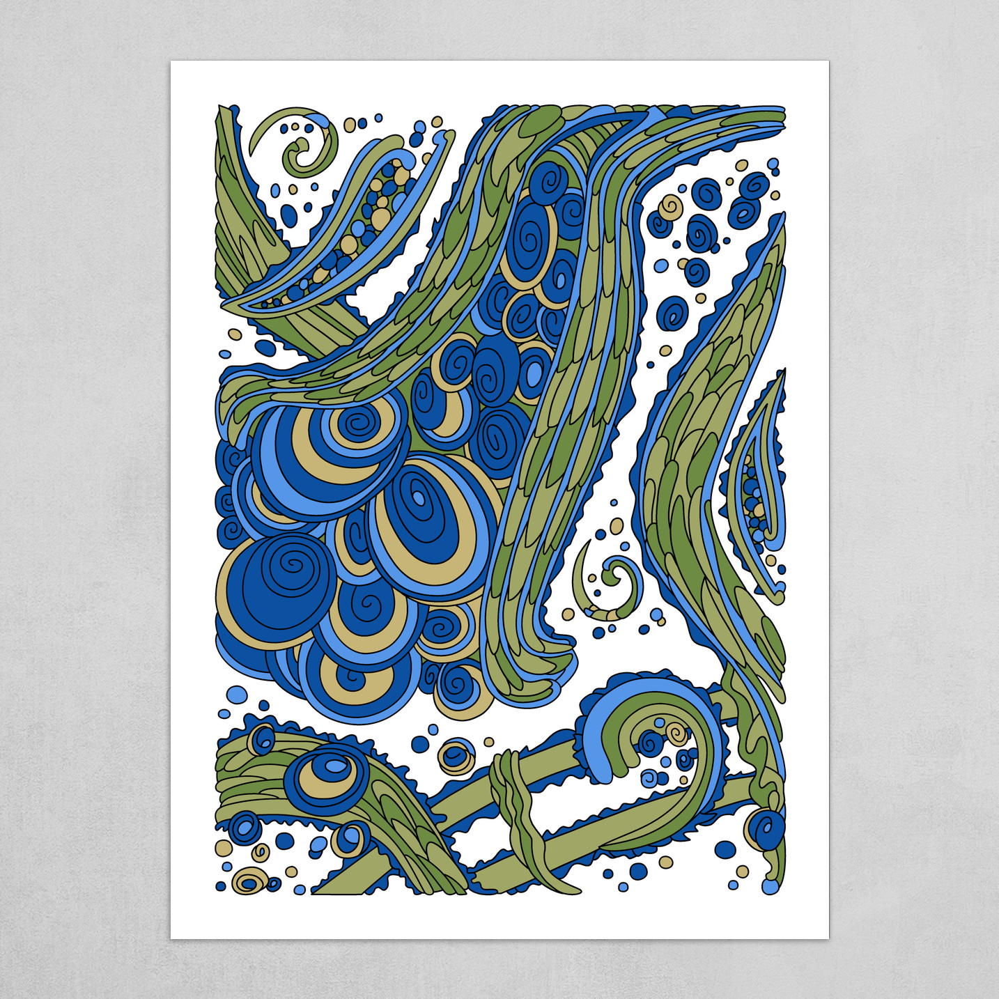 Wandering Abstract Line Art 38: Blue