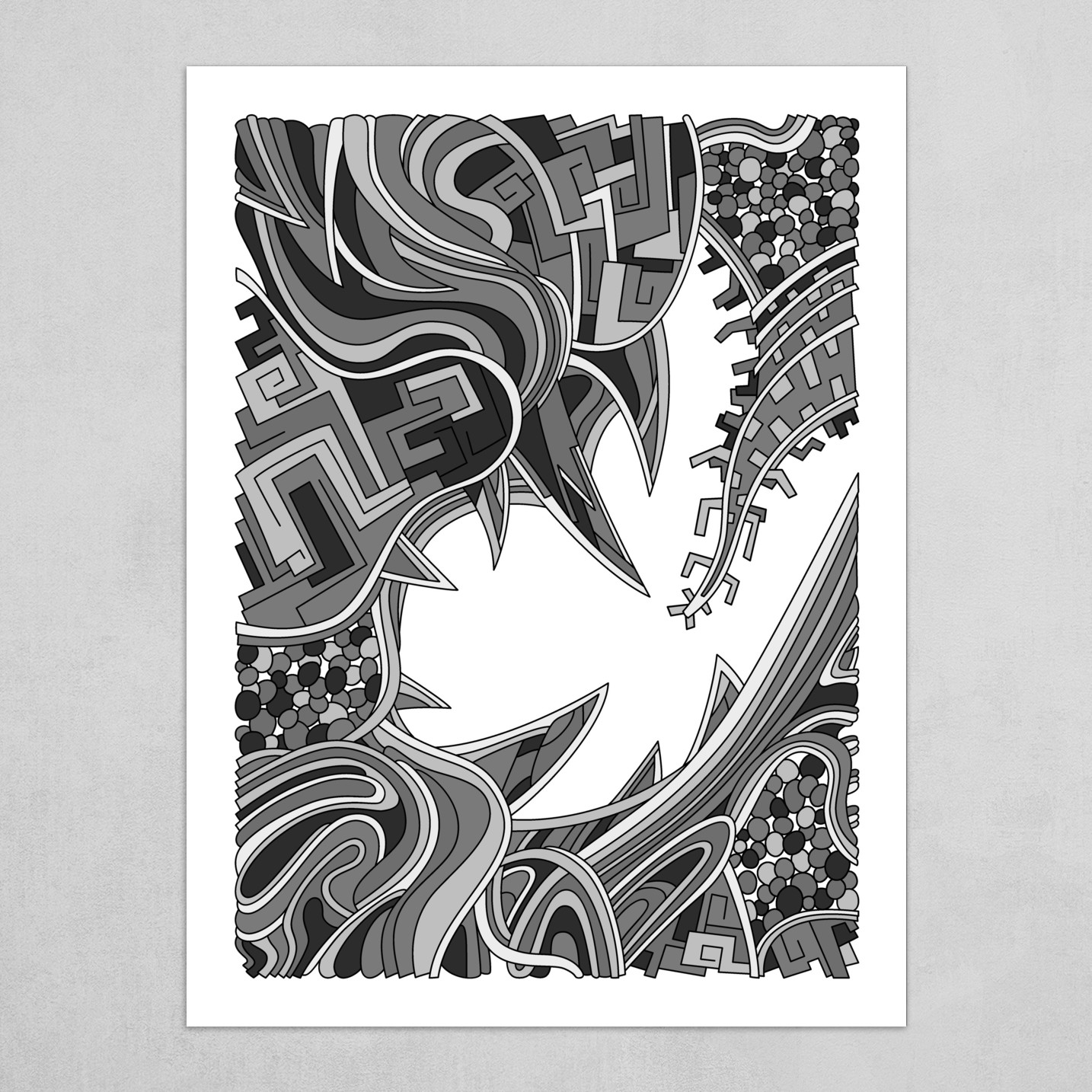 Wandering Abstract Line Art 39: Grayscale