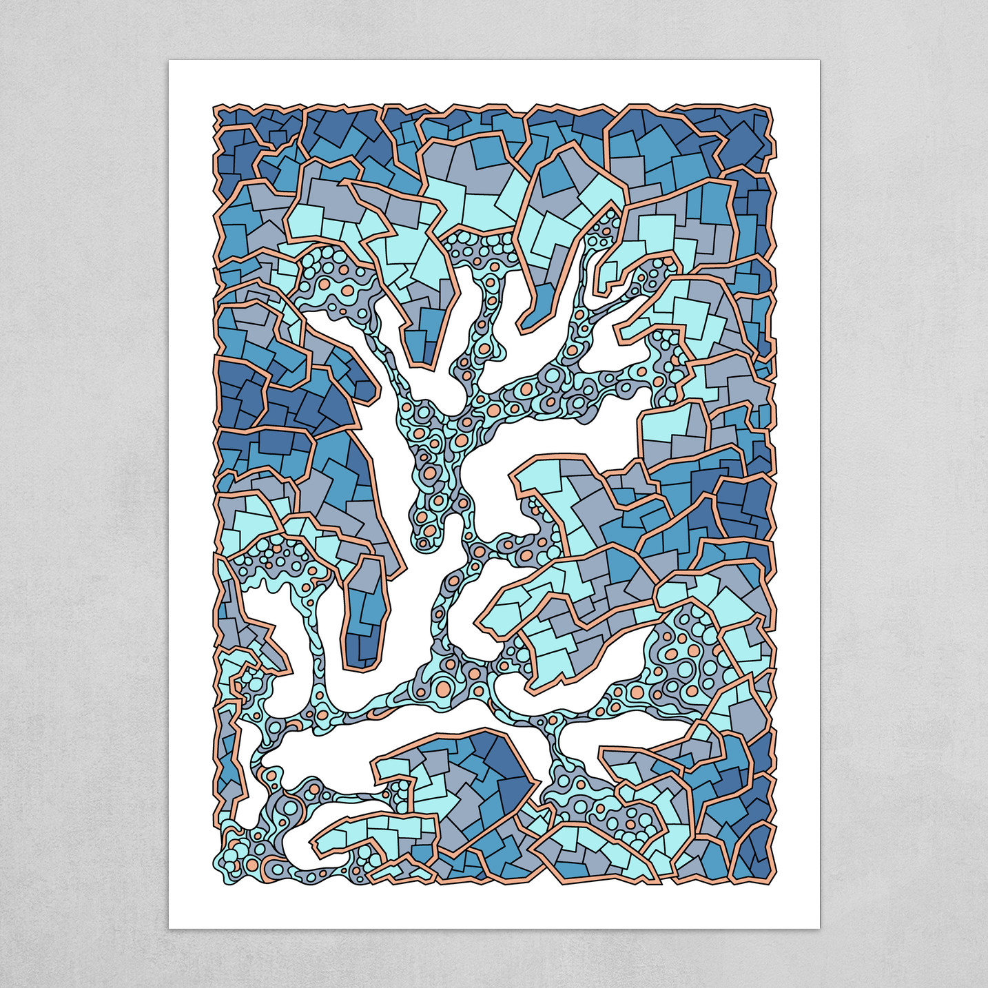 Wandering Abstract Line Art 40: Blue