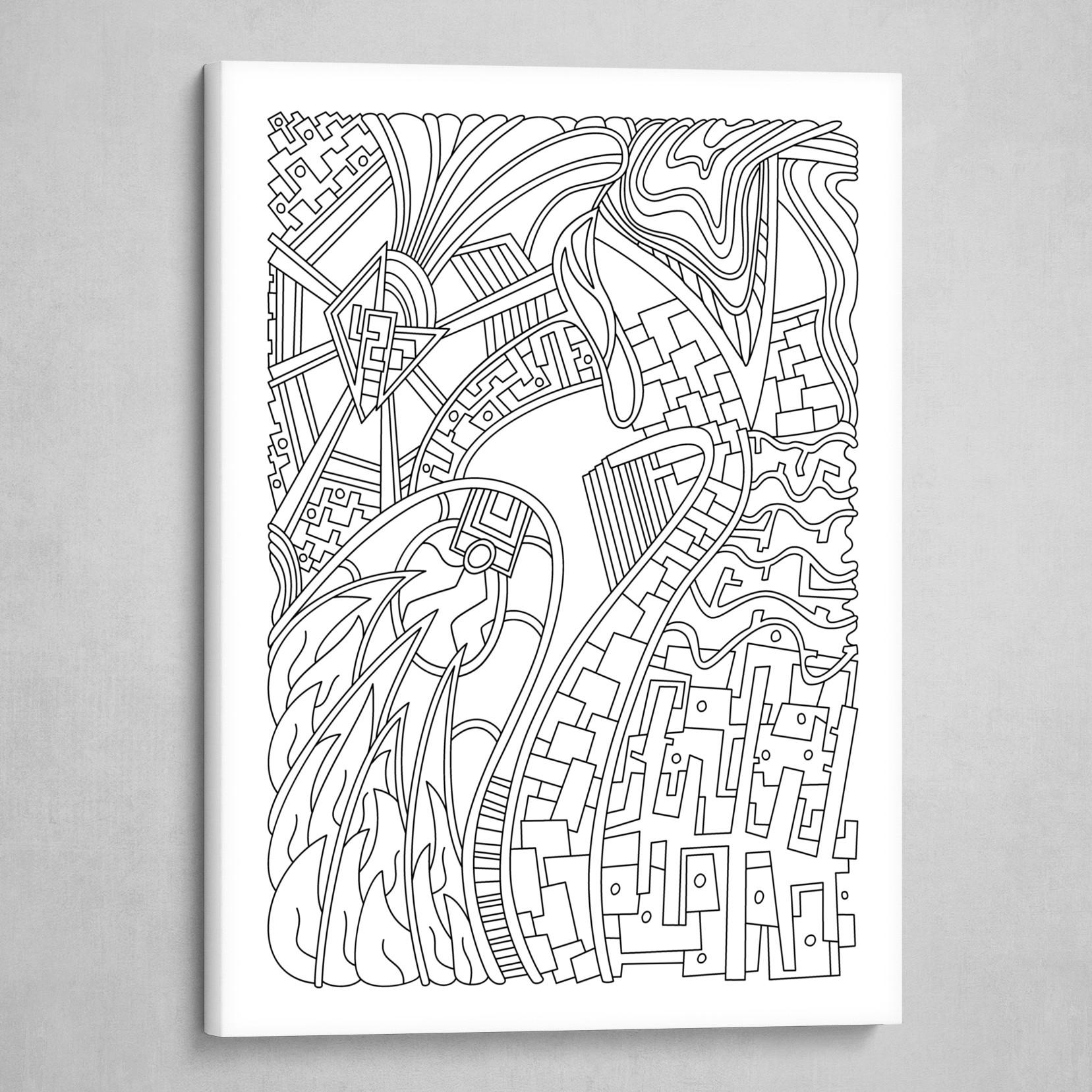 Wandering 42: black & white line art