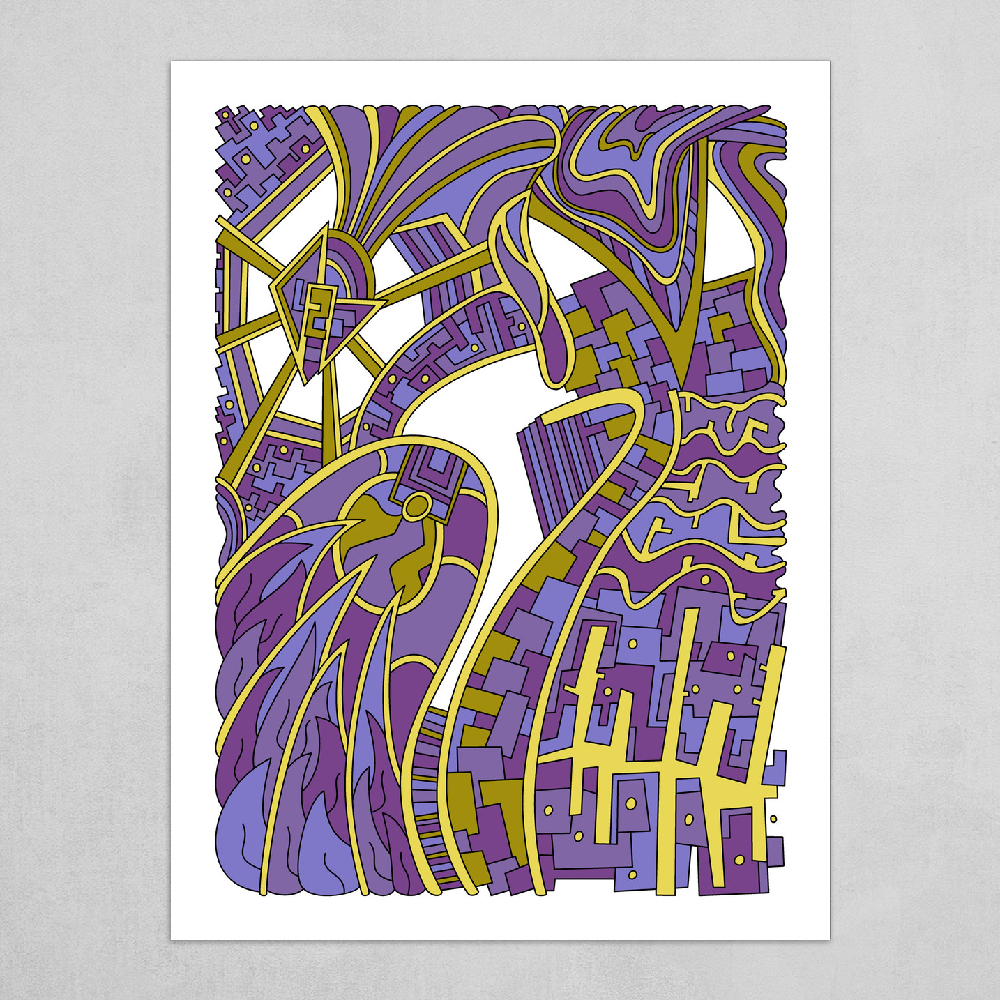 Wandering Abstract Line Art 42: Purple