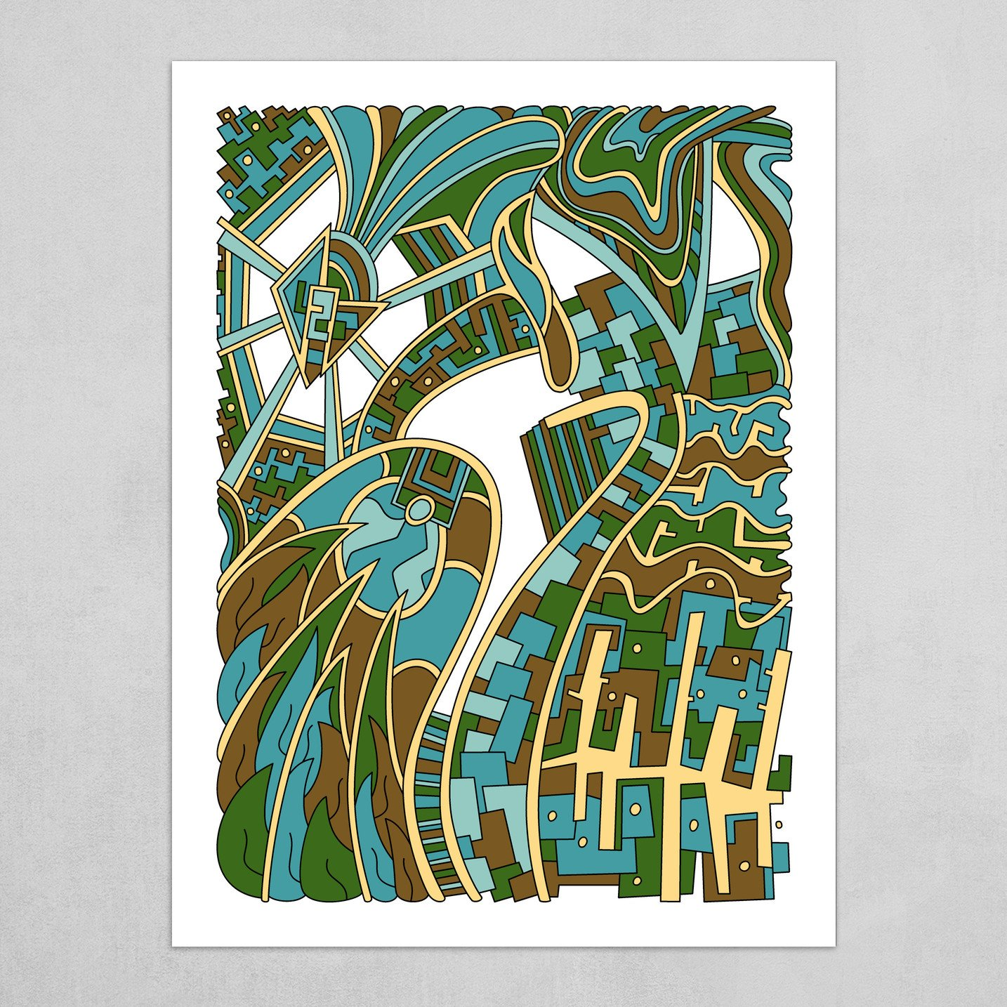 Wandering Abstract Line Art 42: Green