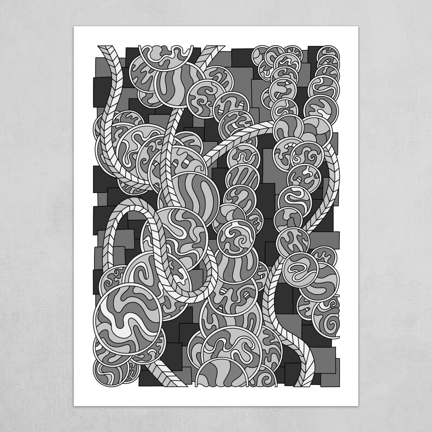 Wandering Abstract Line Art 43: Grayscale