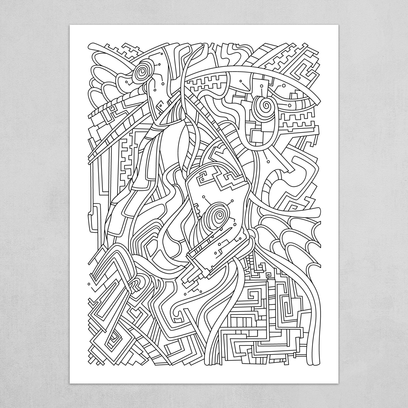 Wandering Abstract Line Art 44: Black & White