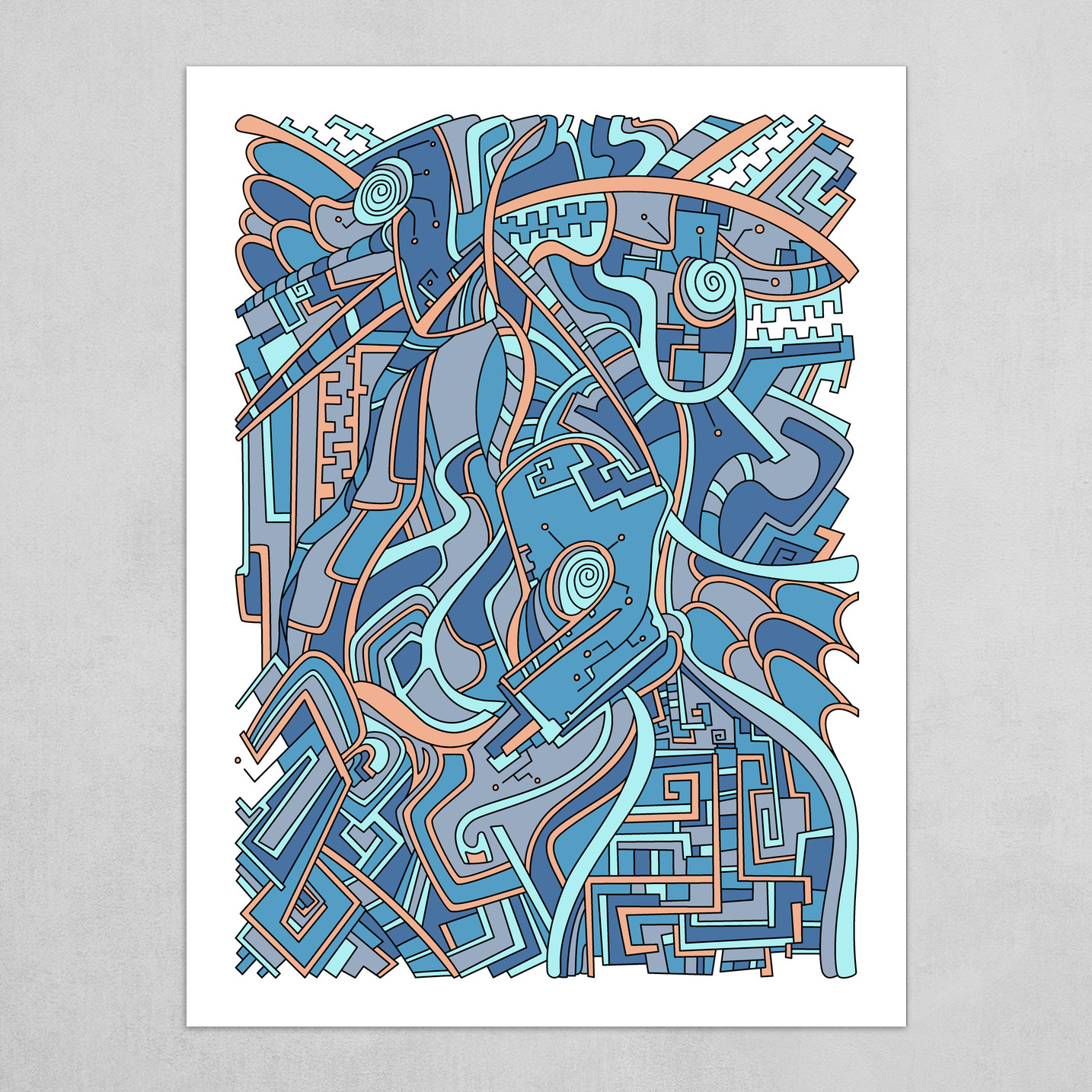 Wandering Abstract Line Art 44: Blue