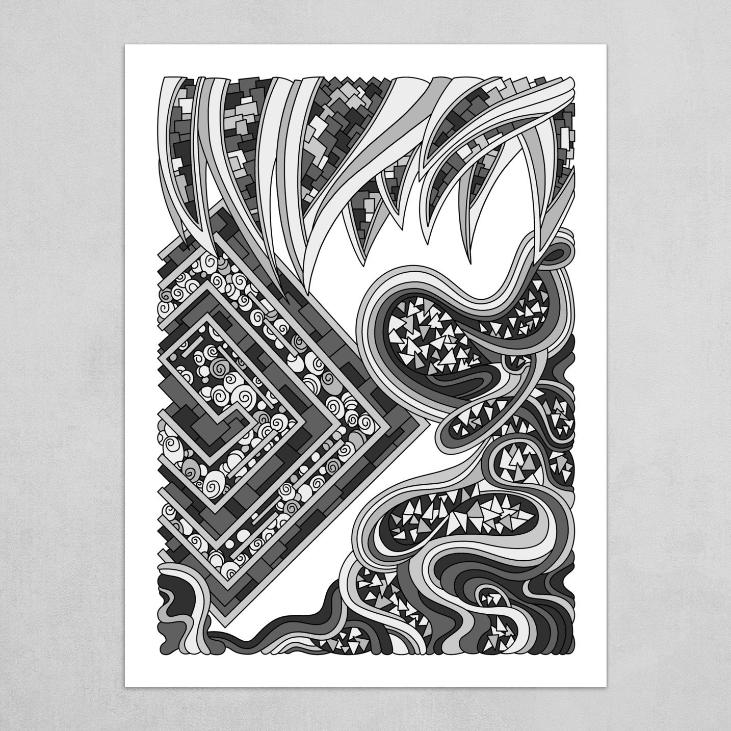 Wandering Abstract Line Art 47: Grayscale