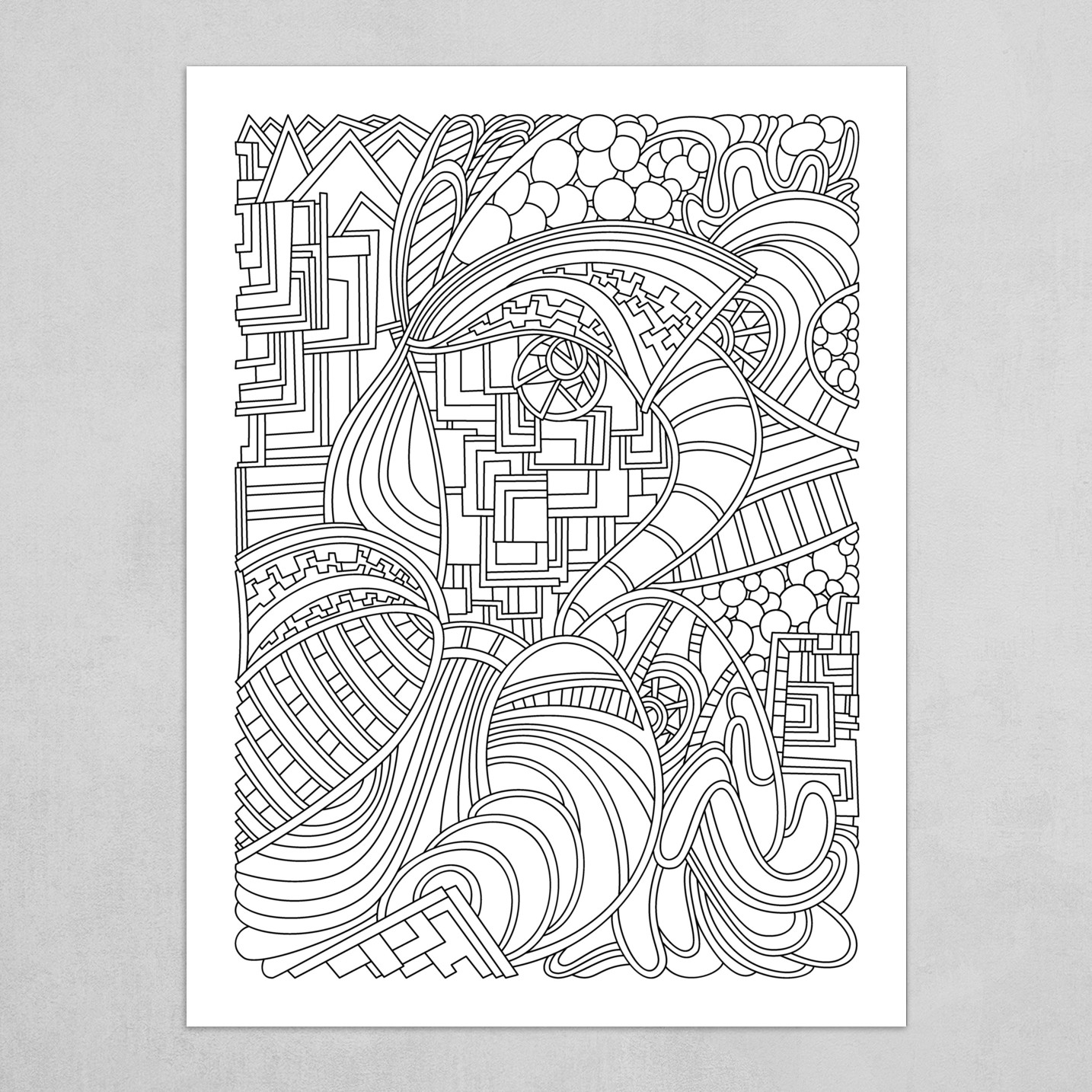 Wandering Abstract Line Art 48: Black & White