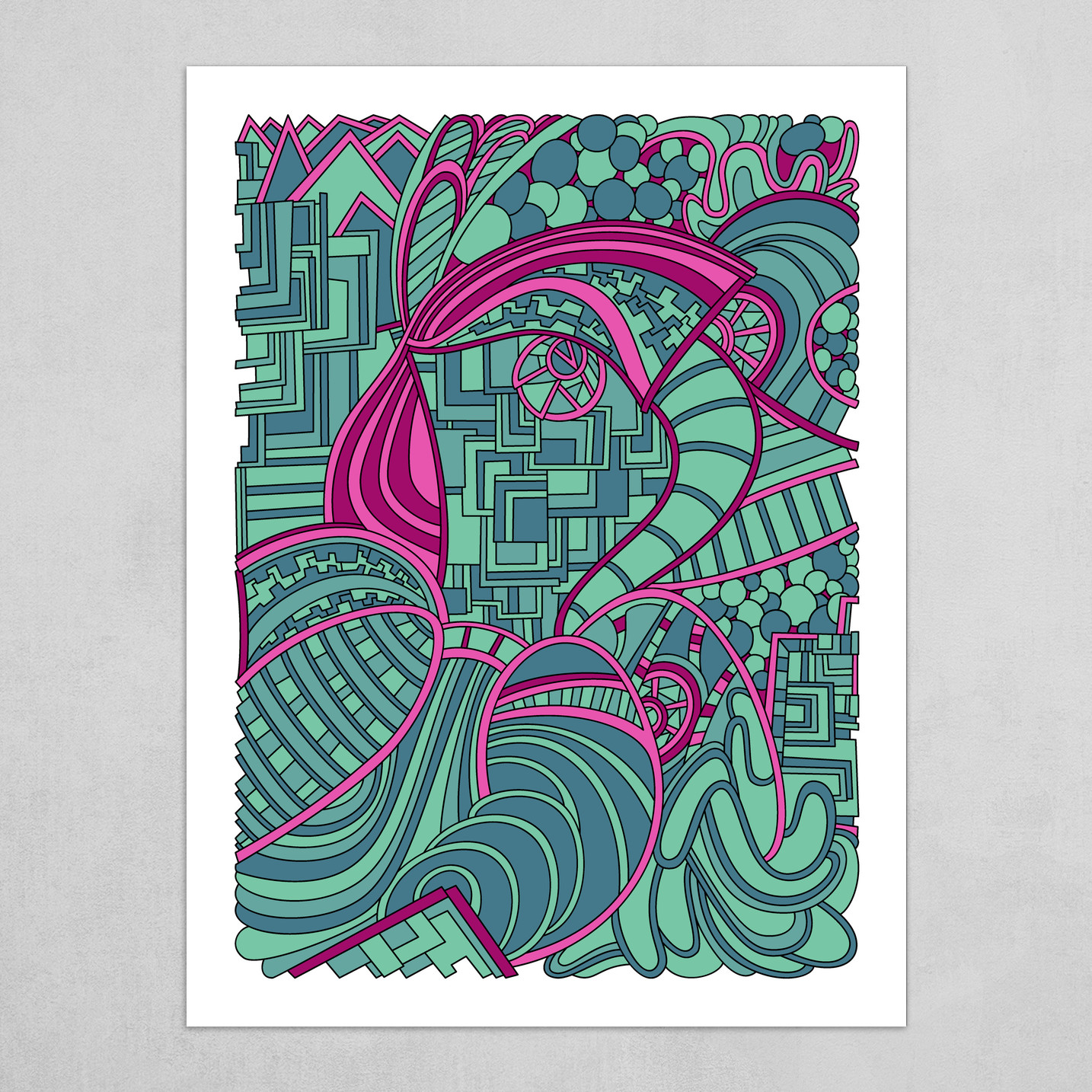 Wandering Abstract Line Art 48: Magenta