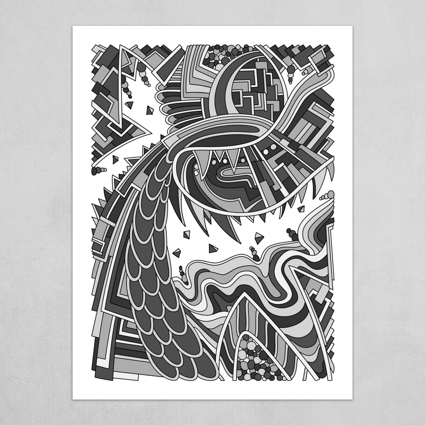 Wandering Abstract Line Art 49: Grayscale