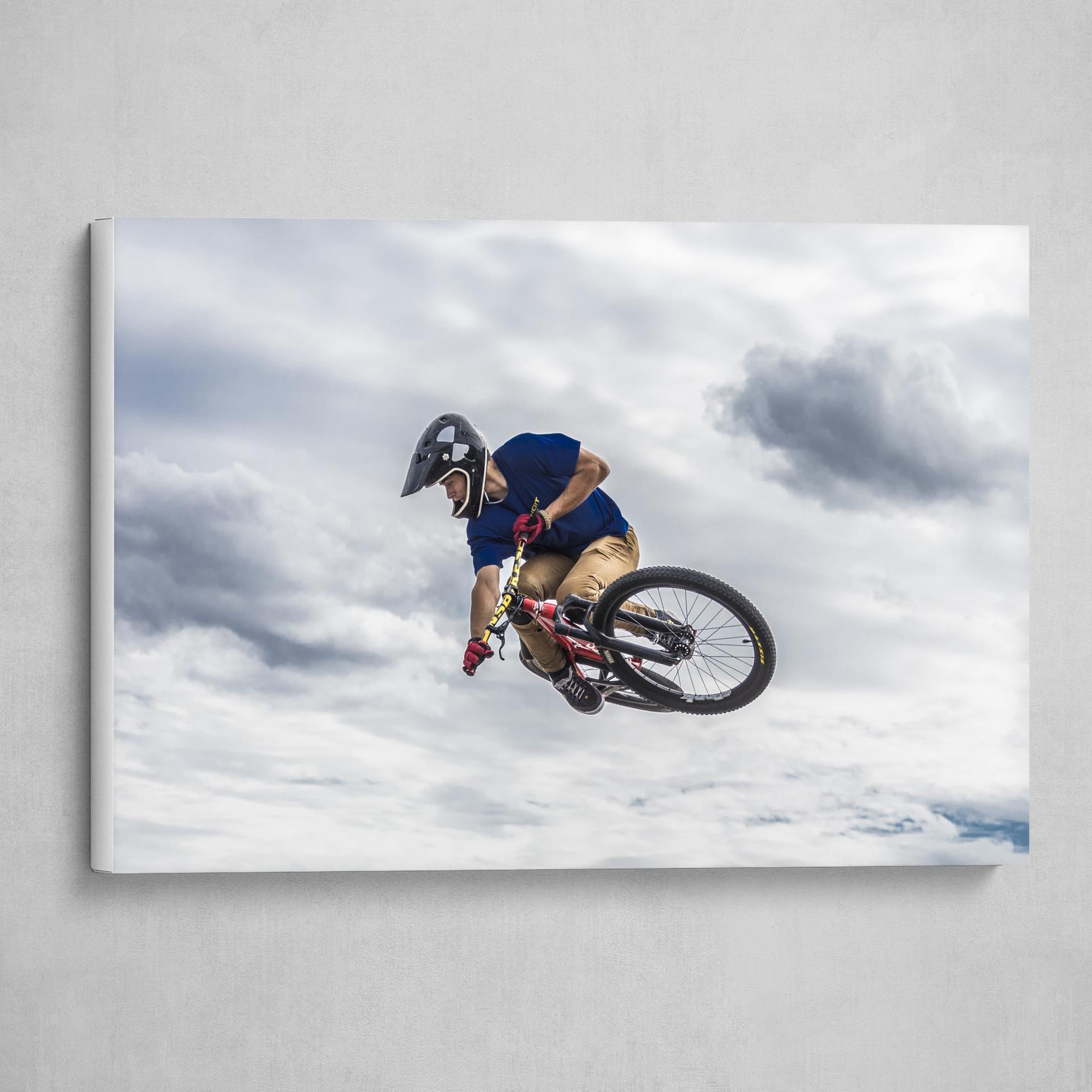 A biker in the clouds