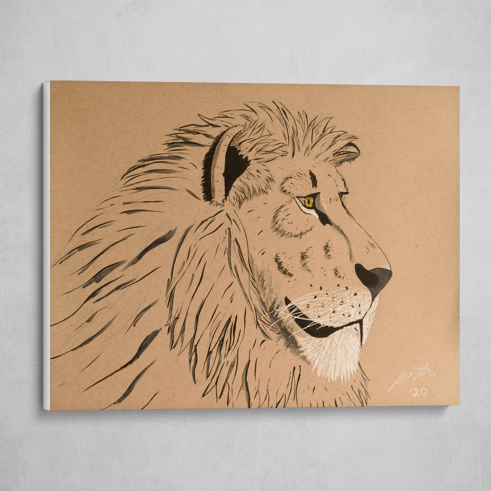 Male Lion on Toned Tan Paper