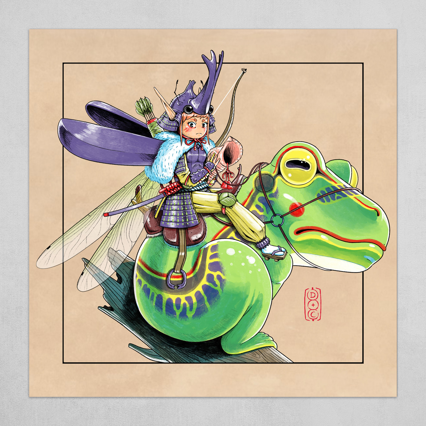 Samurai Fairy - Beige background
