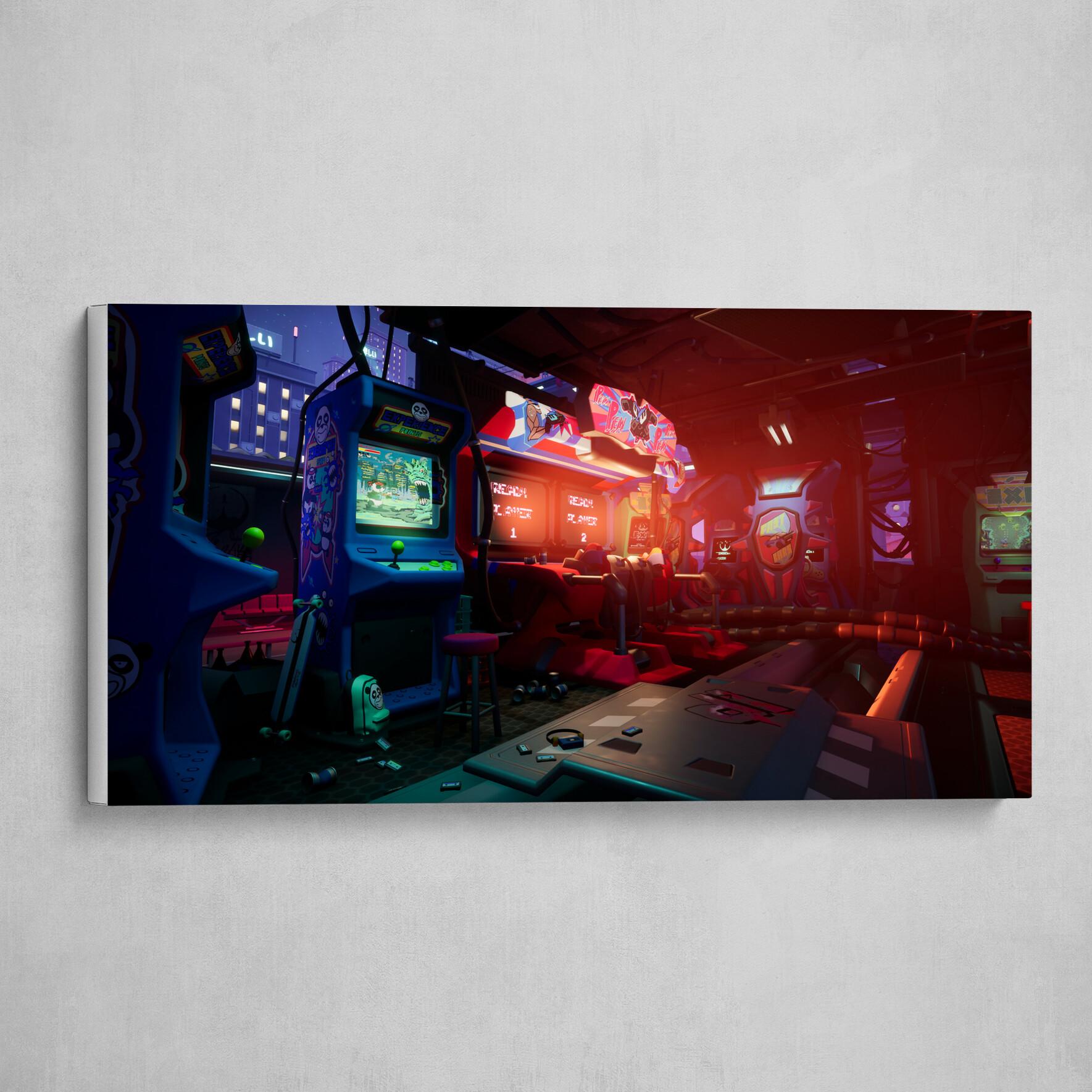 Cyberpunk Arcade interior
