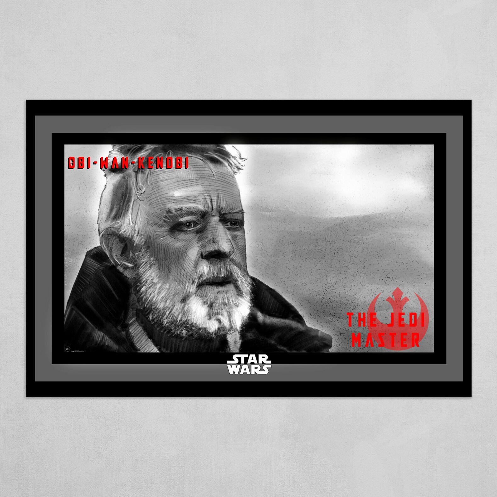 Obi-Wan-Kenobi Poster in B&W with Red