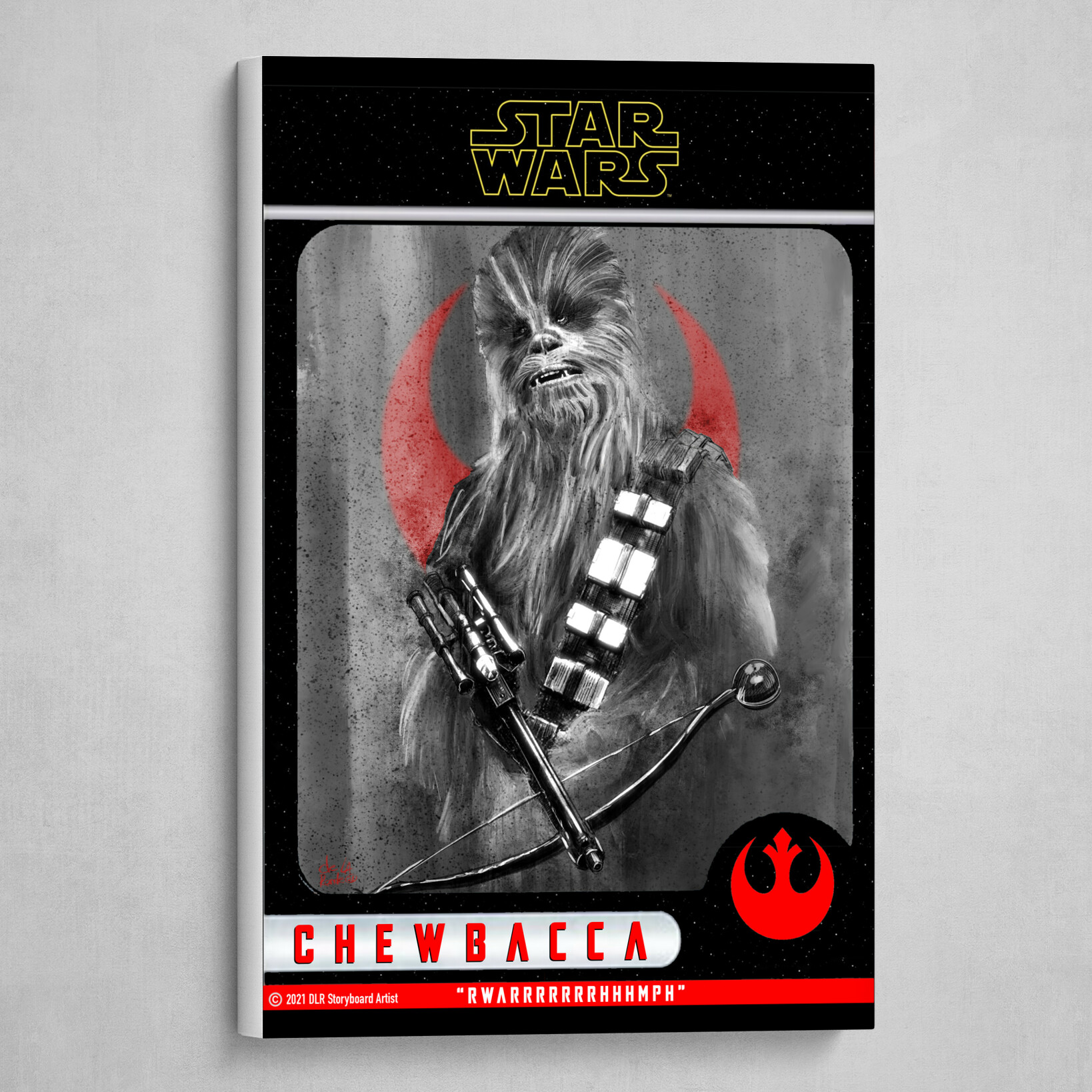 Chewbacca Poster (Trading Card Design Style) B&W with Red and Yellow