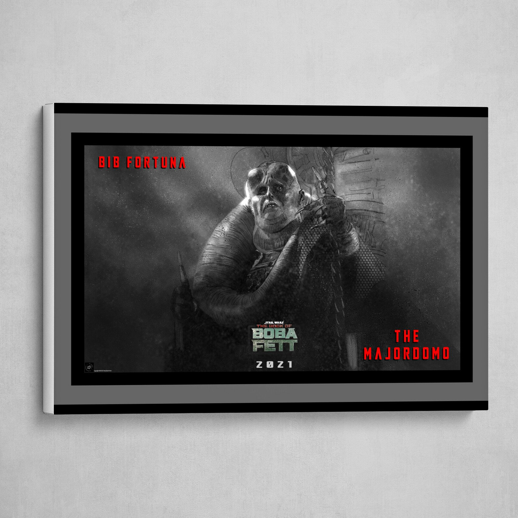 The Majordomo Bib Fortuna Poster B&W with Red and Green