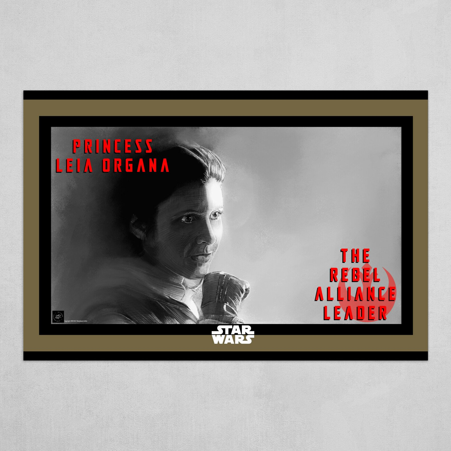 The Rebel Alliance Leader Poster B&W with Red and Gold
