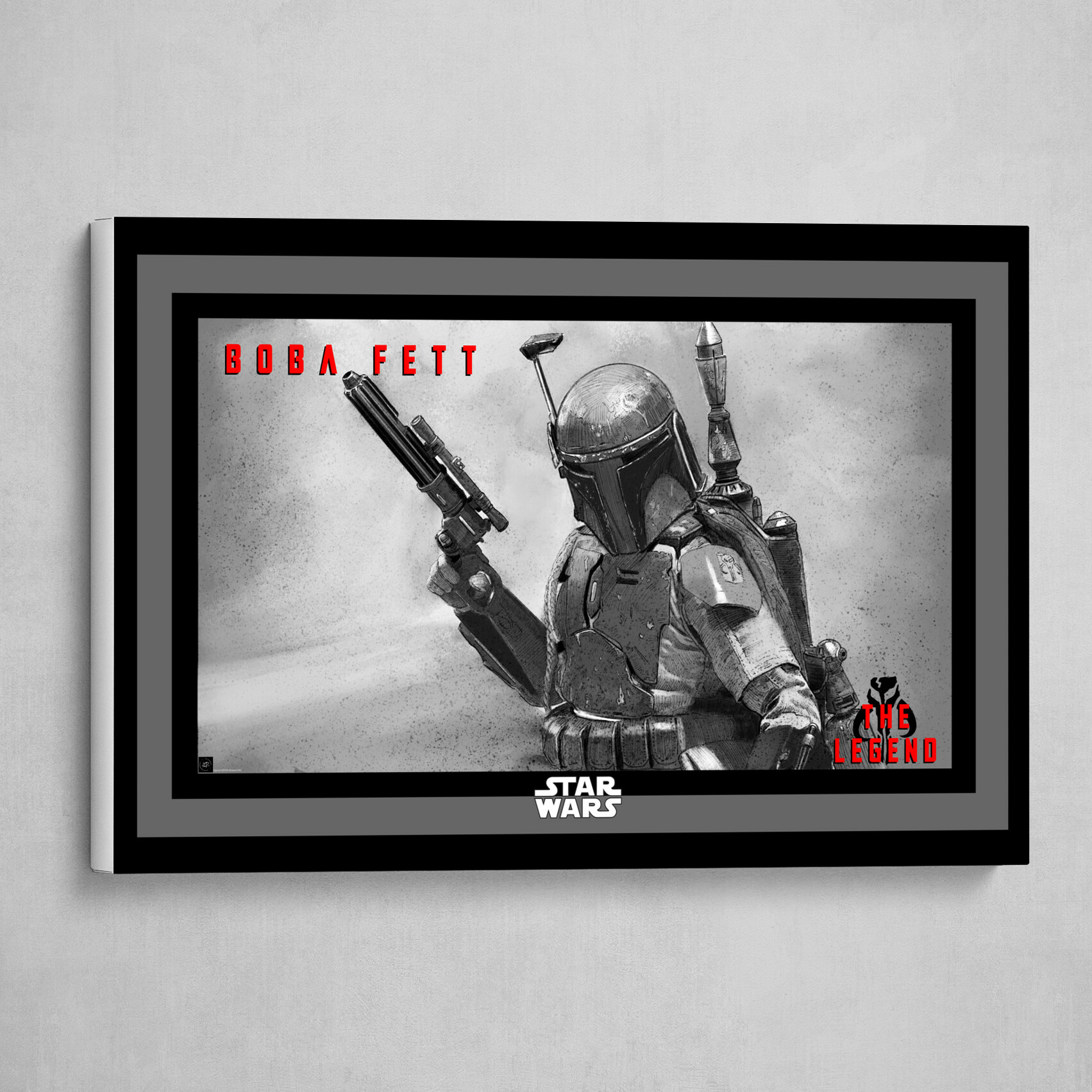 Boba Fett - The Legend Poster in B&W with Red
