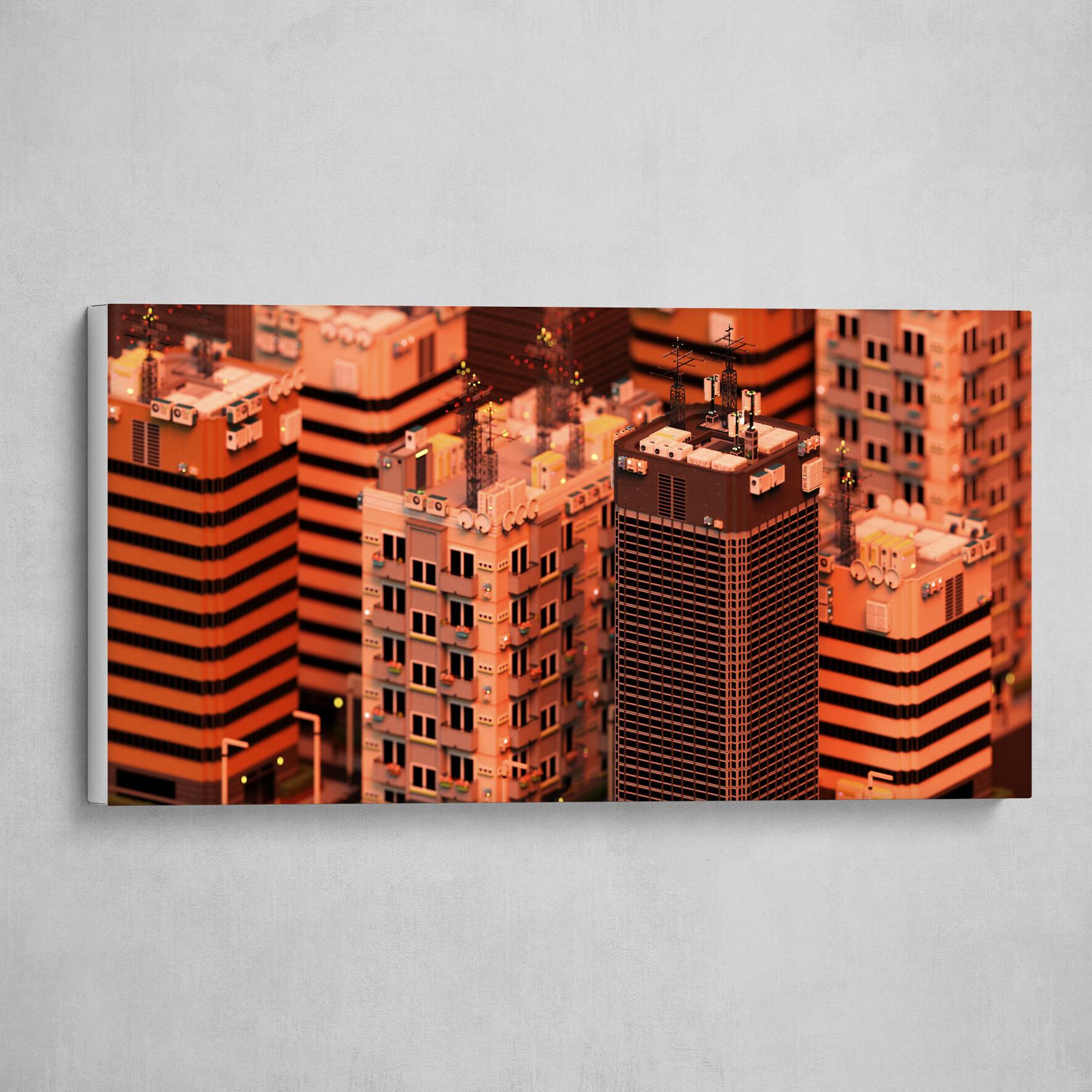 Voxel City n°3 - Dusk