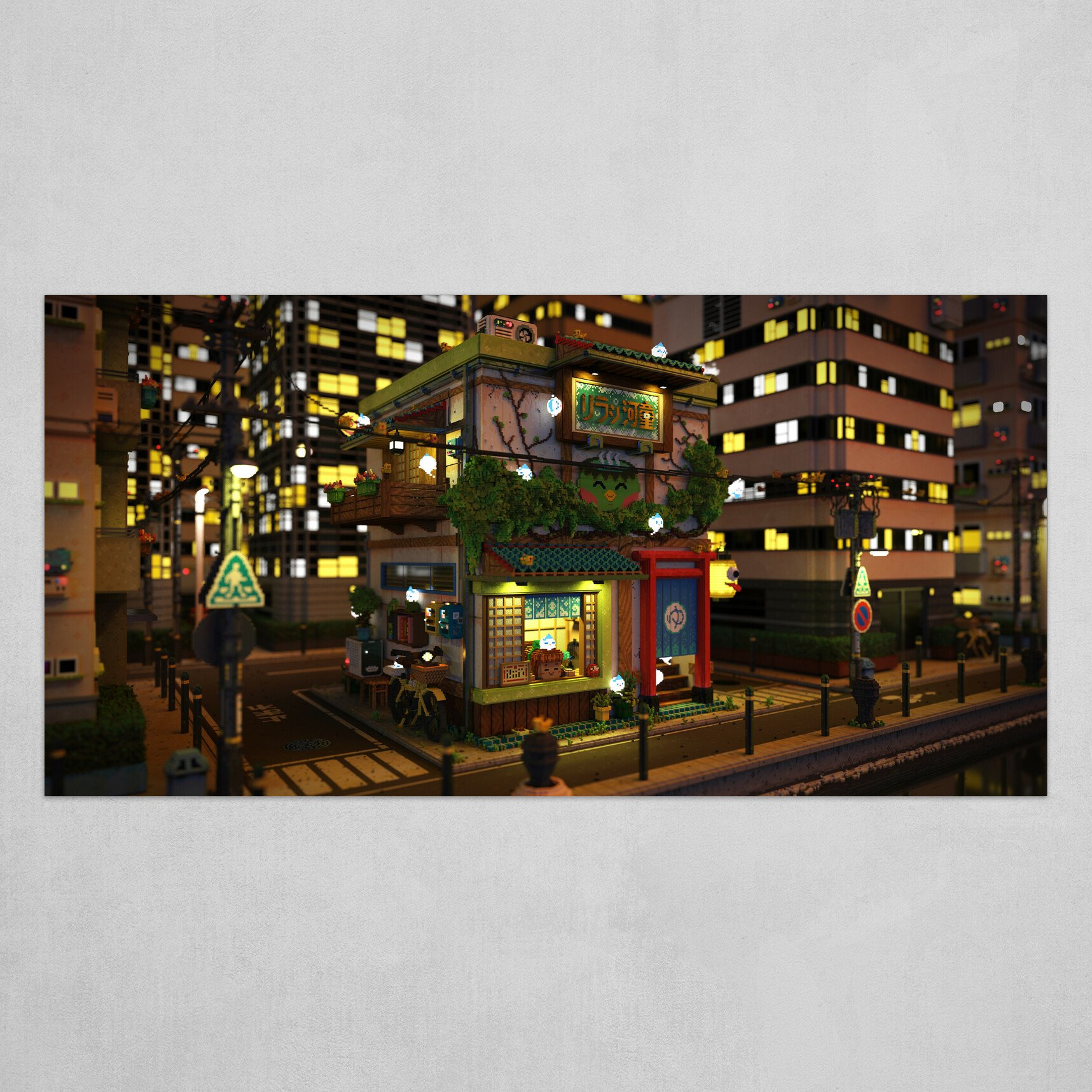 Voxel - Onsen Street - Night 02