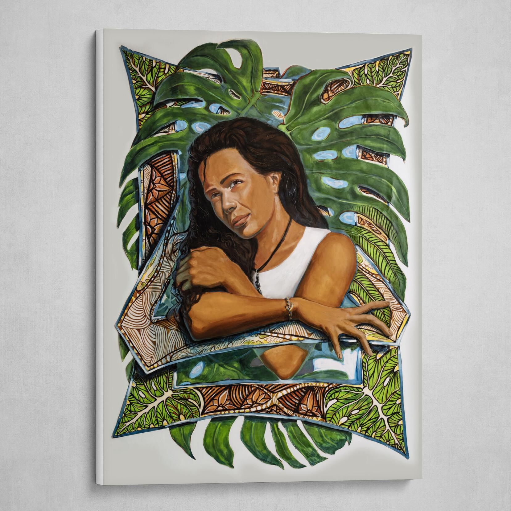 Polynesian Girl with Plant